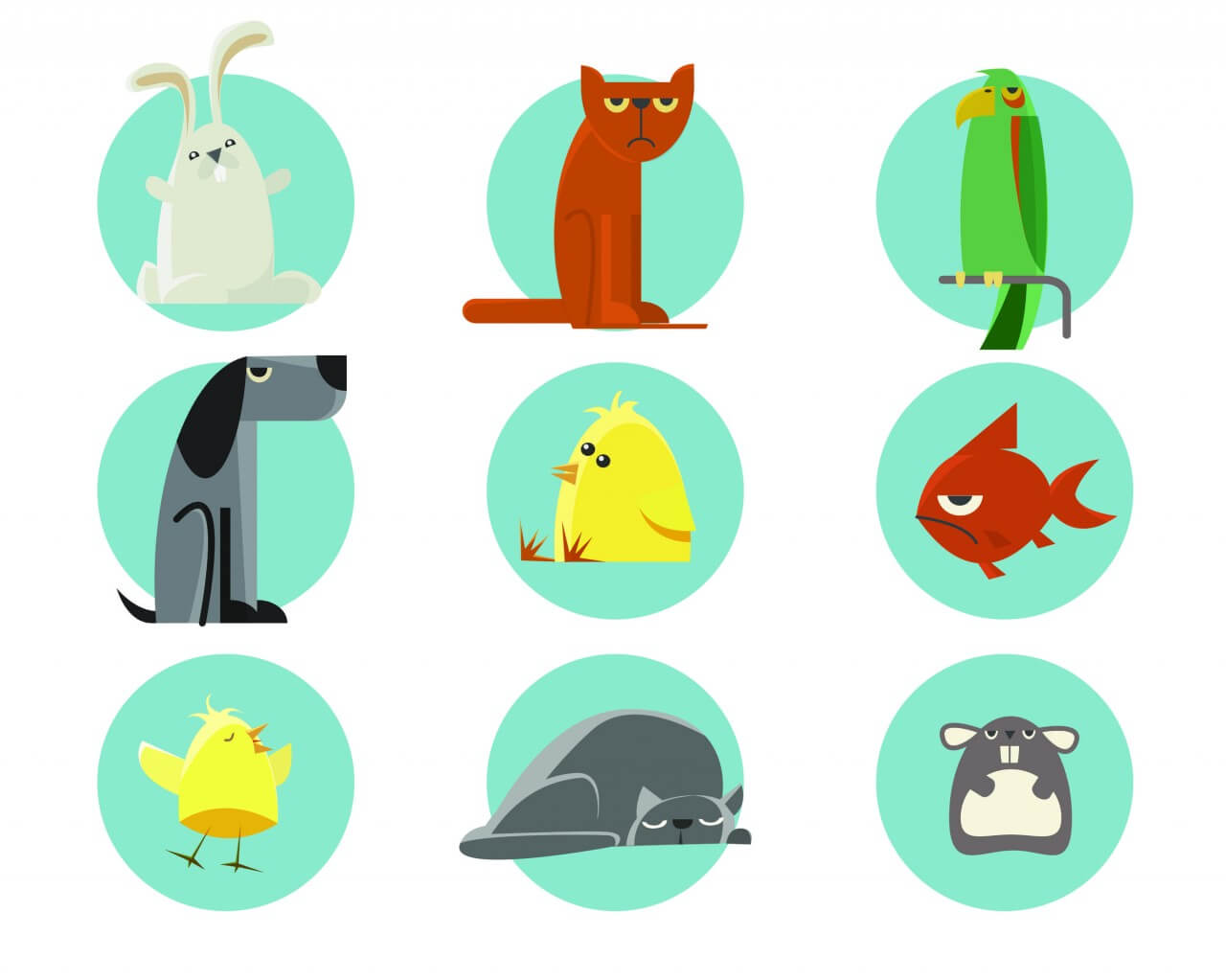 "Free vector ""Set of vector illustrated animals. For free design"""