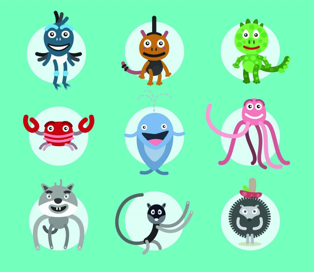 """Free vector """"Set of vector illustrated animals. For free design"""""""