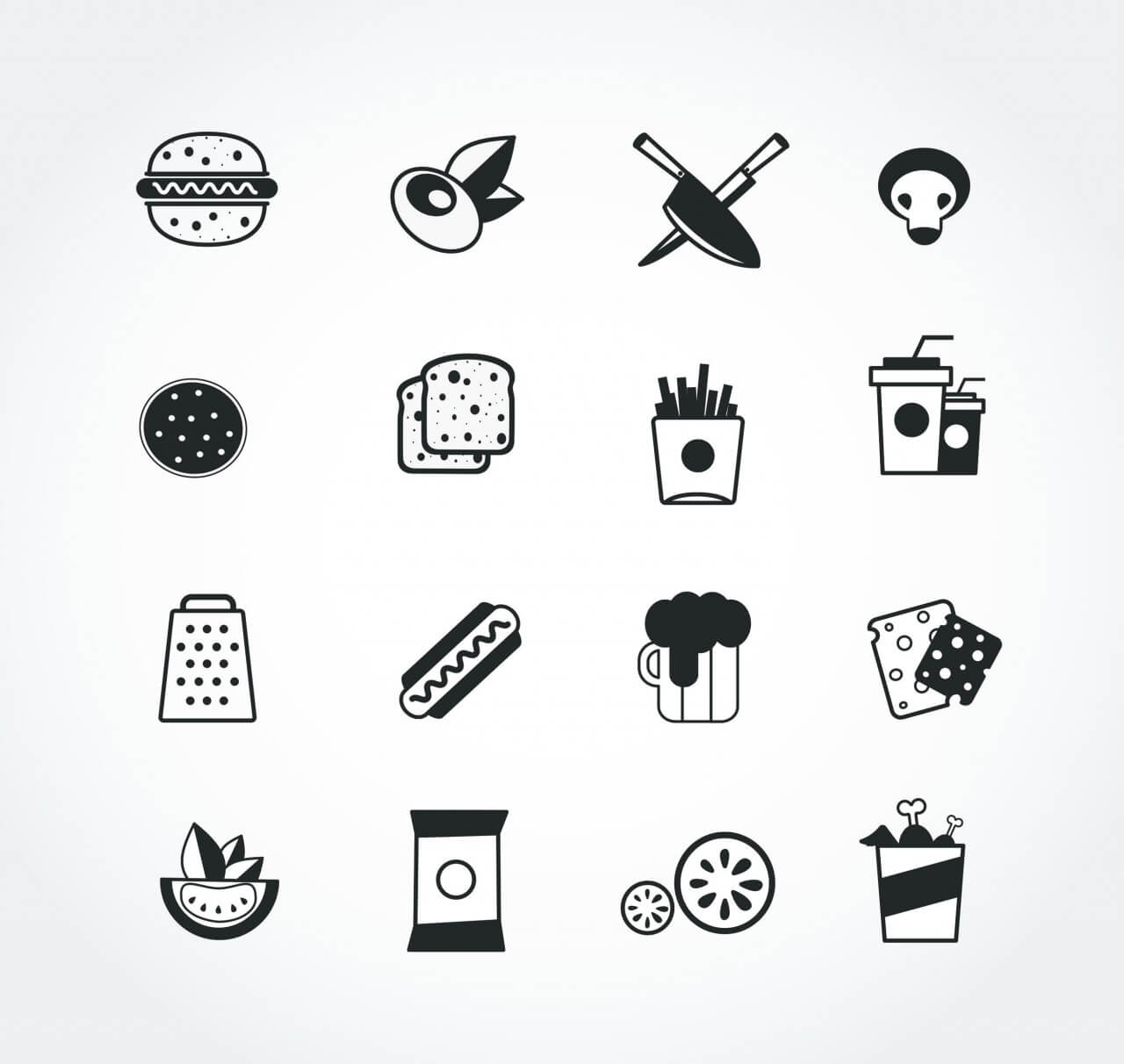 "Free vector ""Food free vector mono color set. Icons for design"""