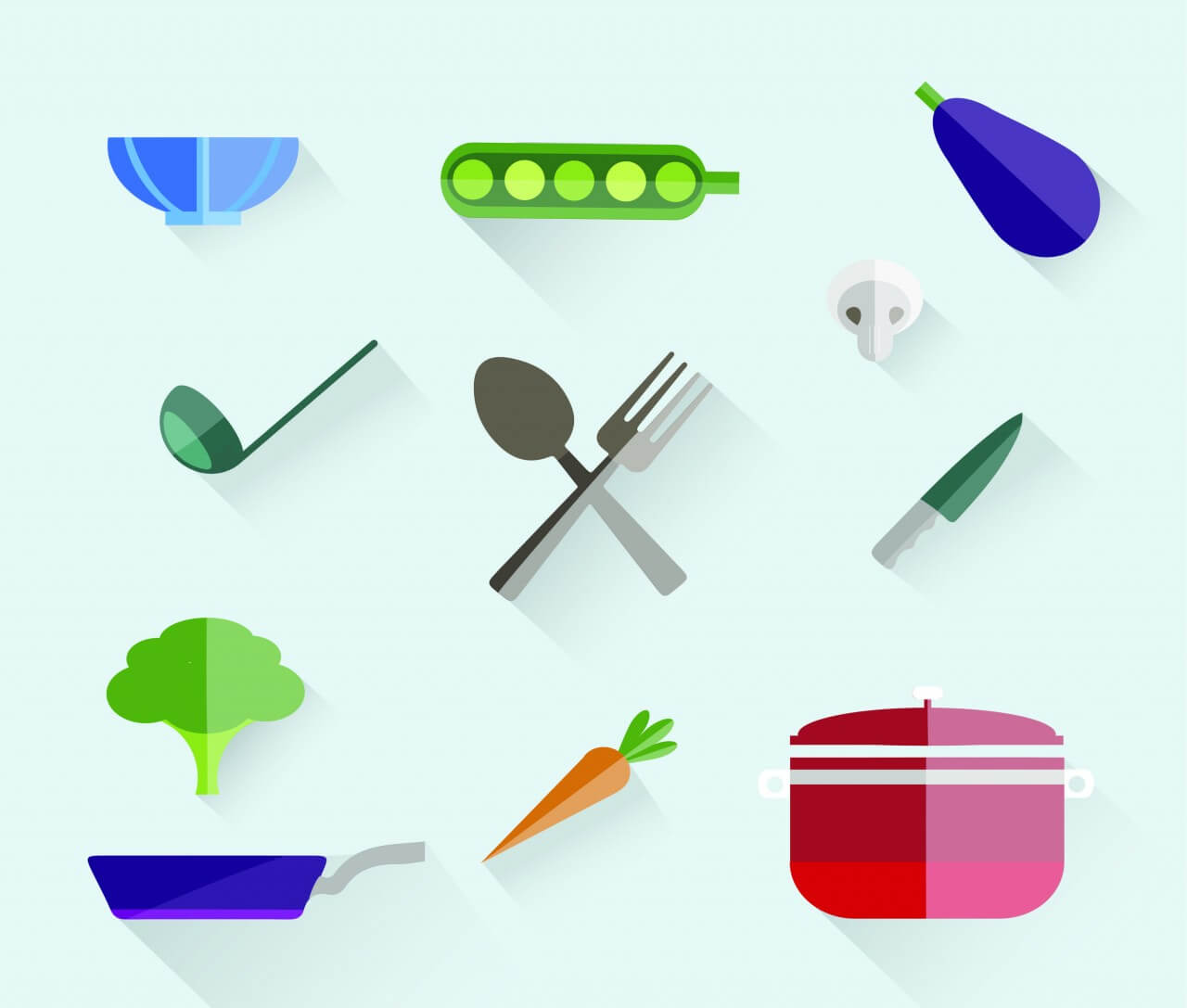 "Free vector ""Food free vector set. Icons for design"""