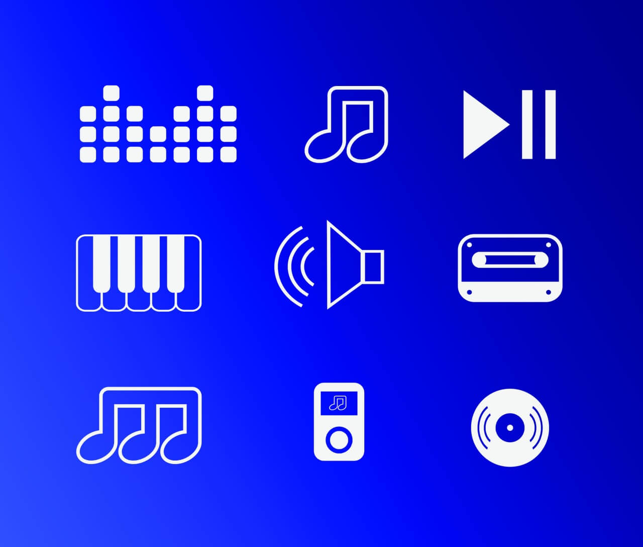 "Free vector ""Vector free music instruments icons set for design"""