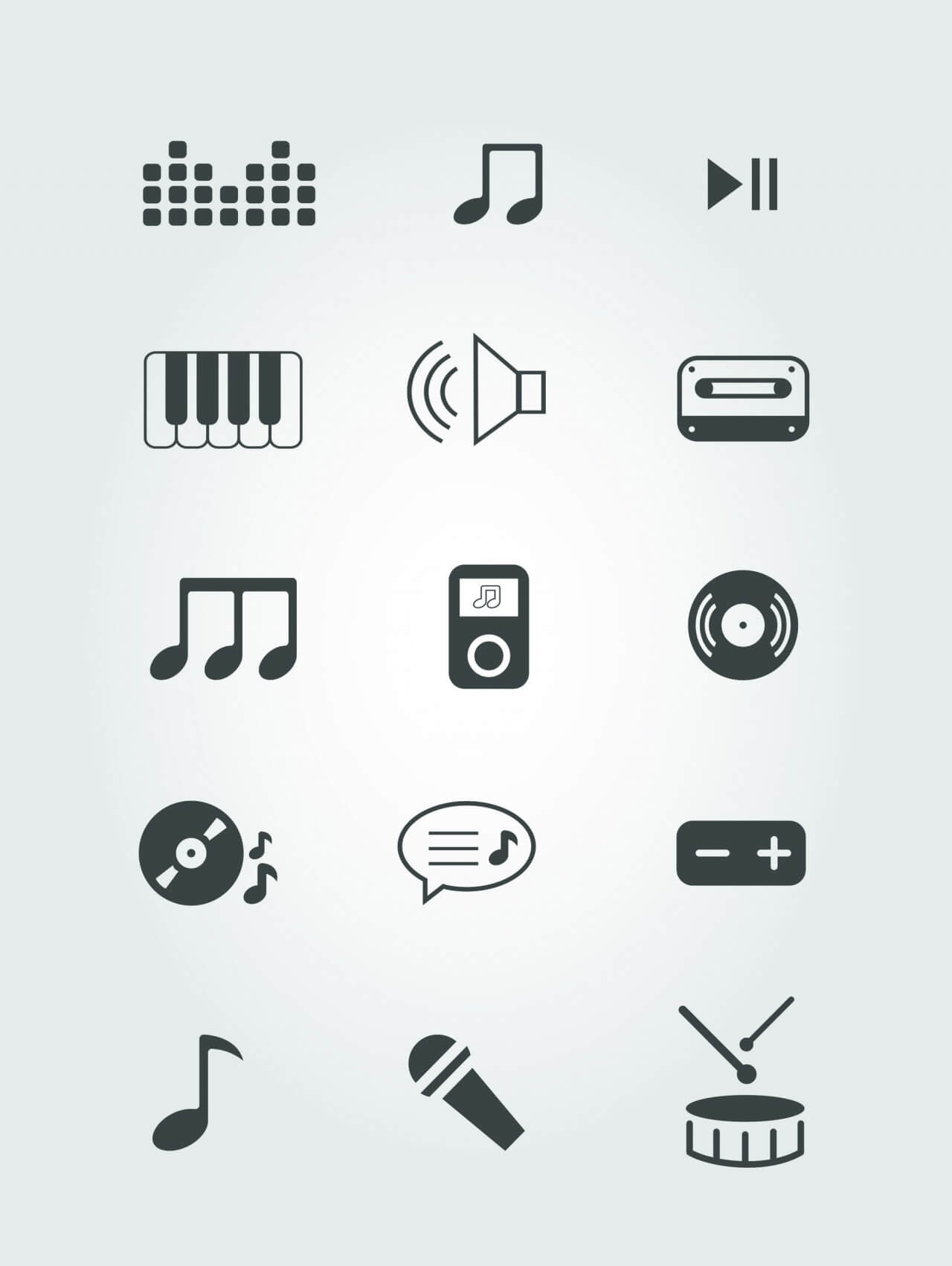 """Free vector """"Vector free music instruments icons set for design"""""""