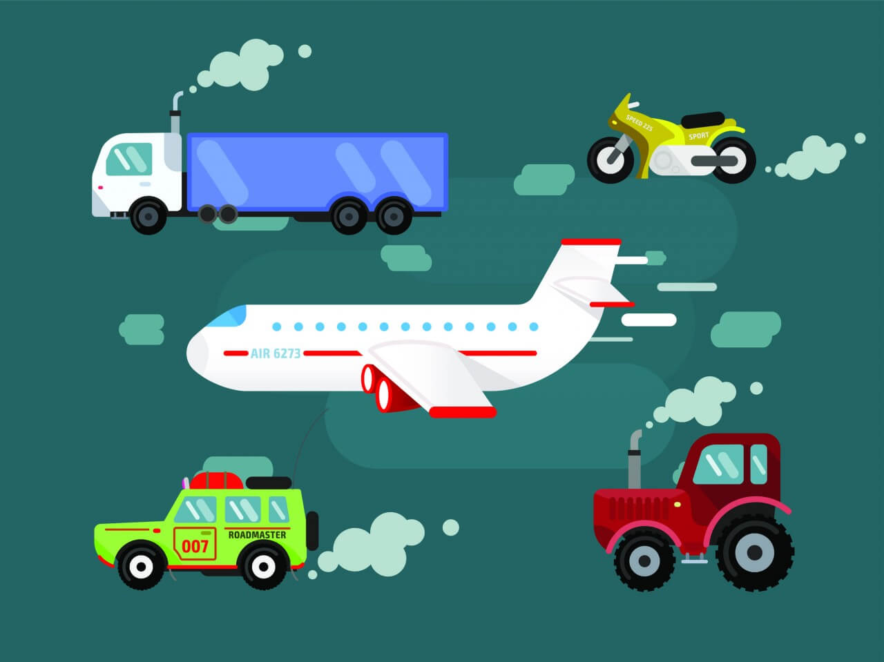 "Free vector ""Vector set transport for free design. Cer, truck, airplane, bike"""