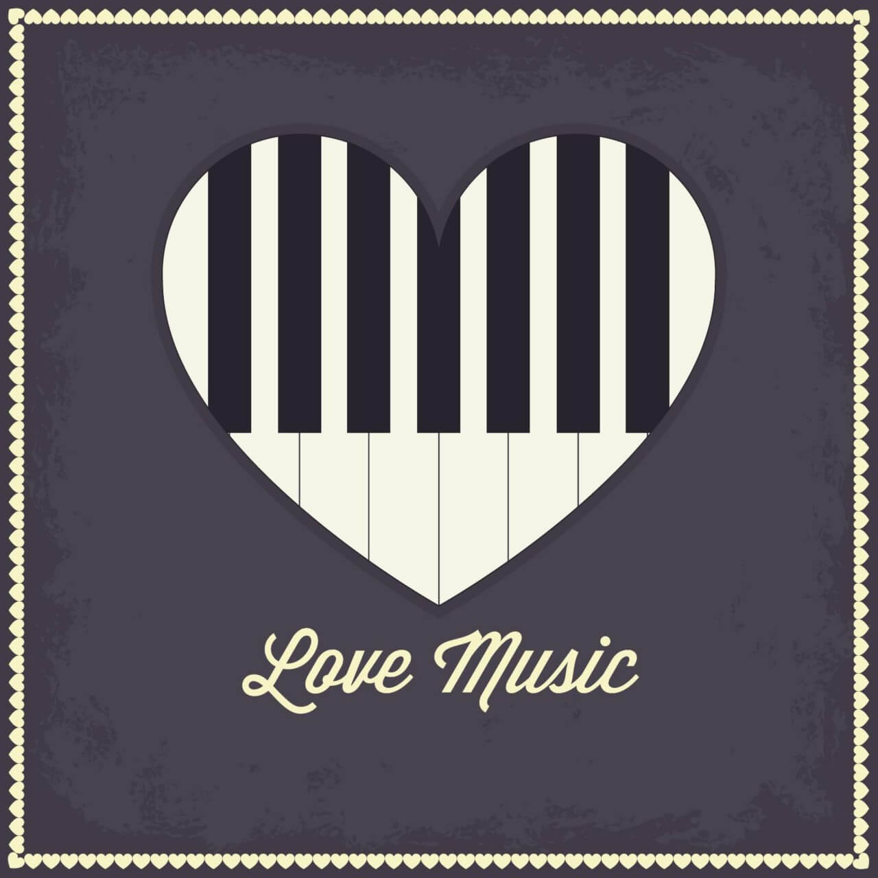 "Free vector ""Music illustration with heart and piano keyboard"""