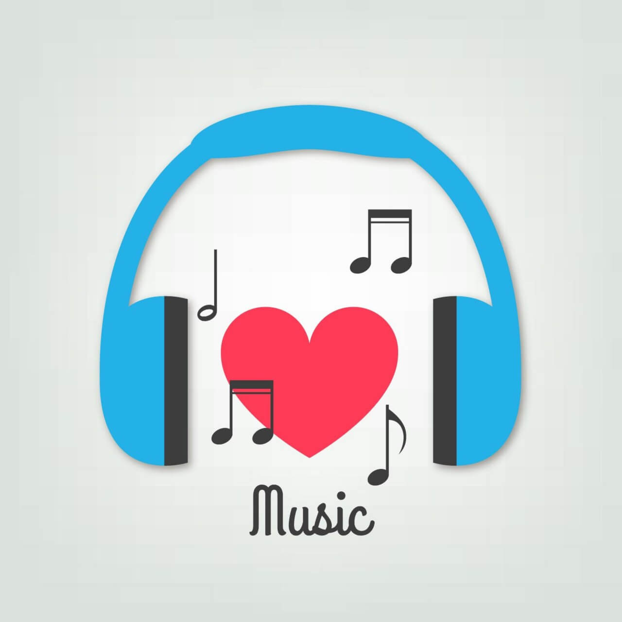 """Free vector """"Music illustration with headphones and heart"""""""