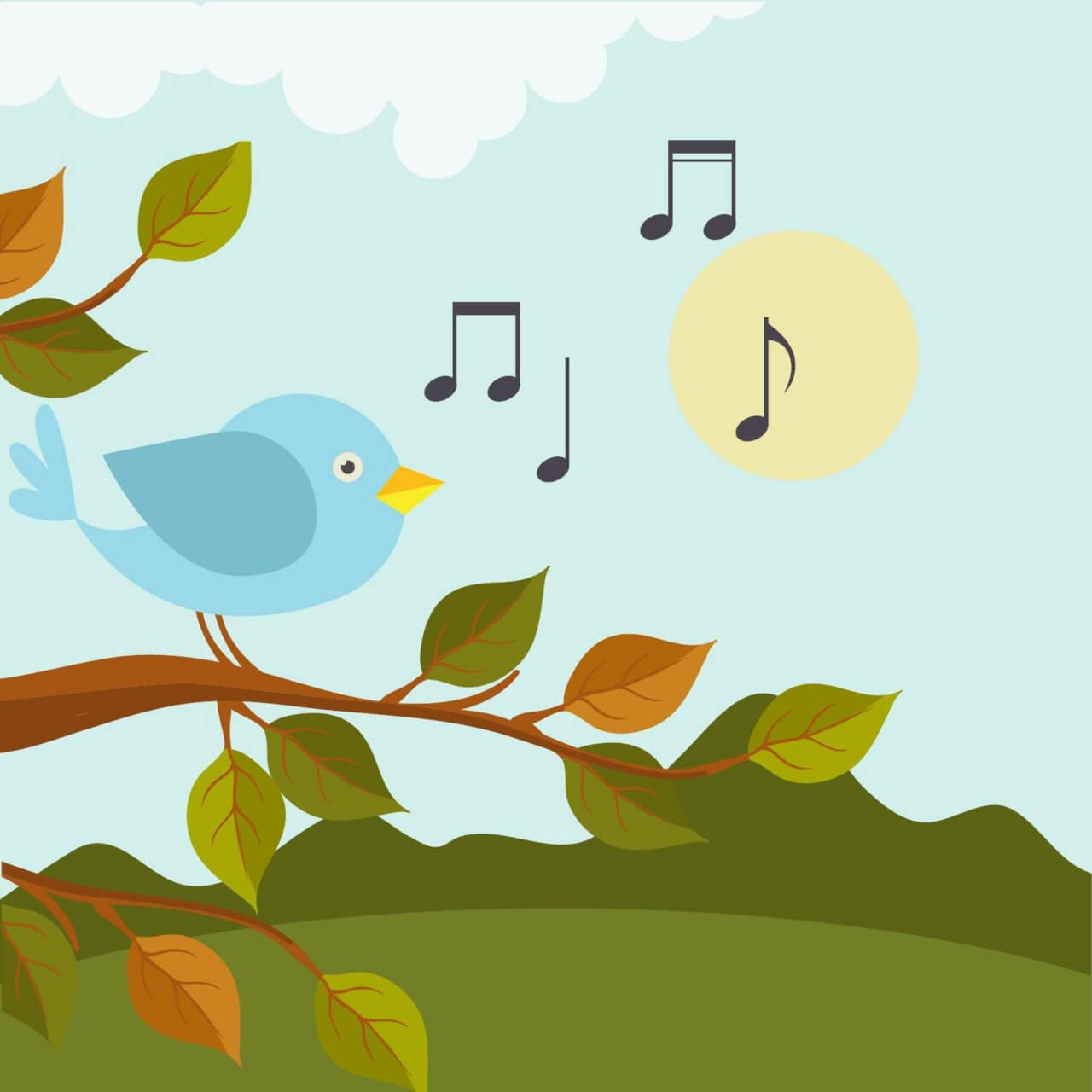 "Free vector ""Music illustration with bird """