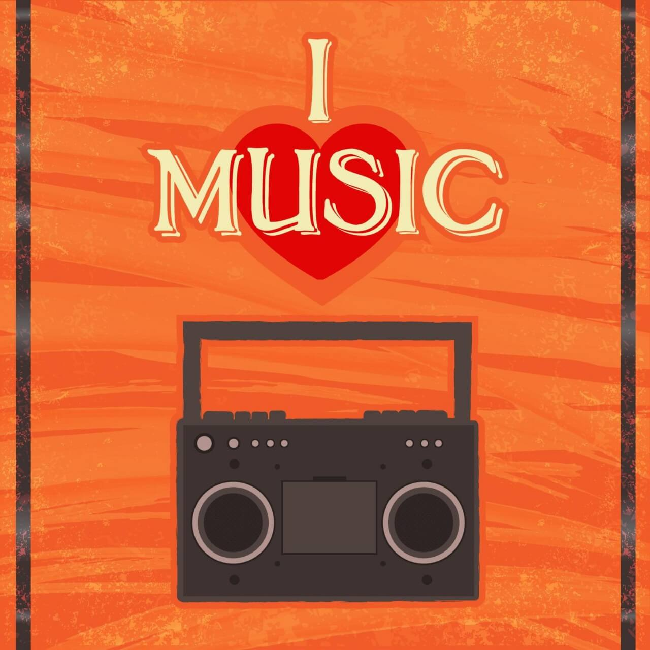 "Free vector ""Music illustration with radion and typography"""