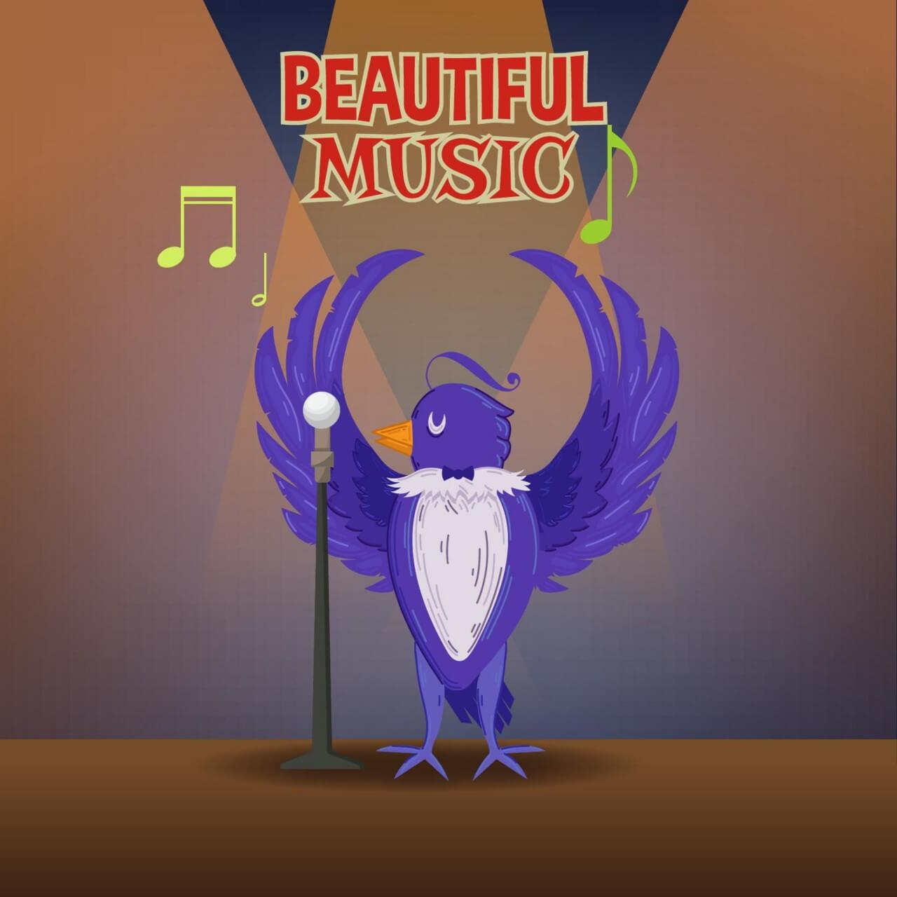 "Free vector ""Music illustration with cute bird and typography"""