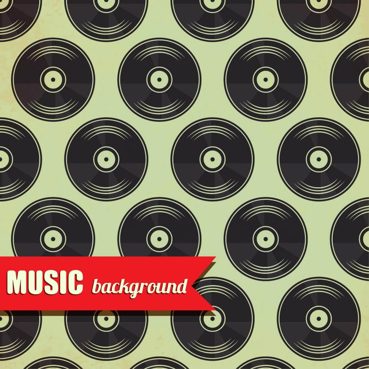 """Free vector """"Music pattern with vinyl disk"""""""