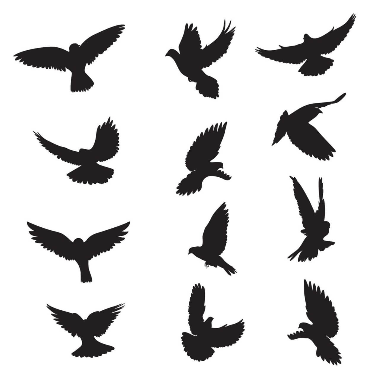 "Free vector ""Set of silhouettes of doves"""