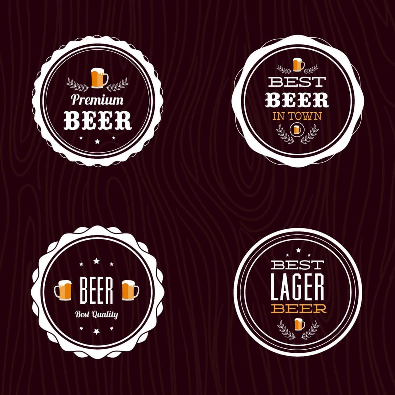 "Free vector ""Set of retro styled beer labels"""