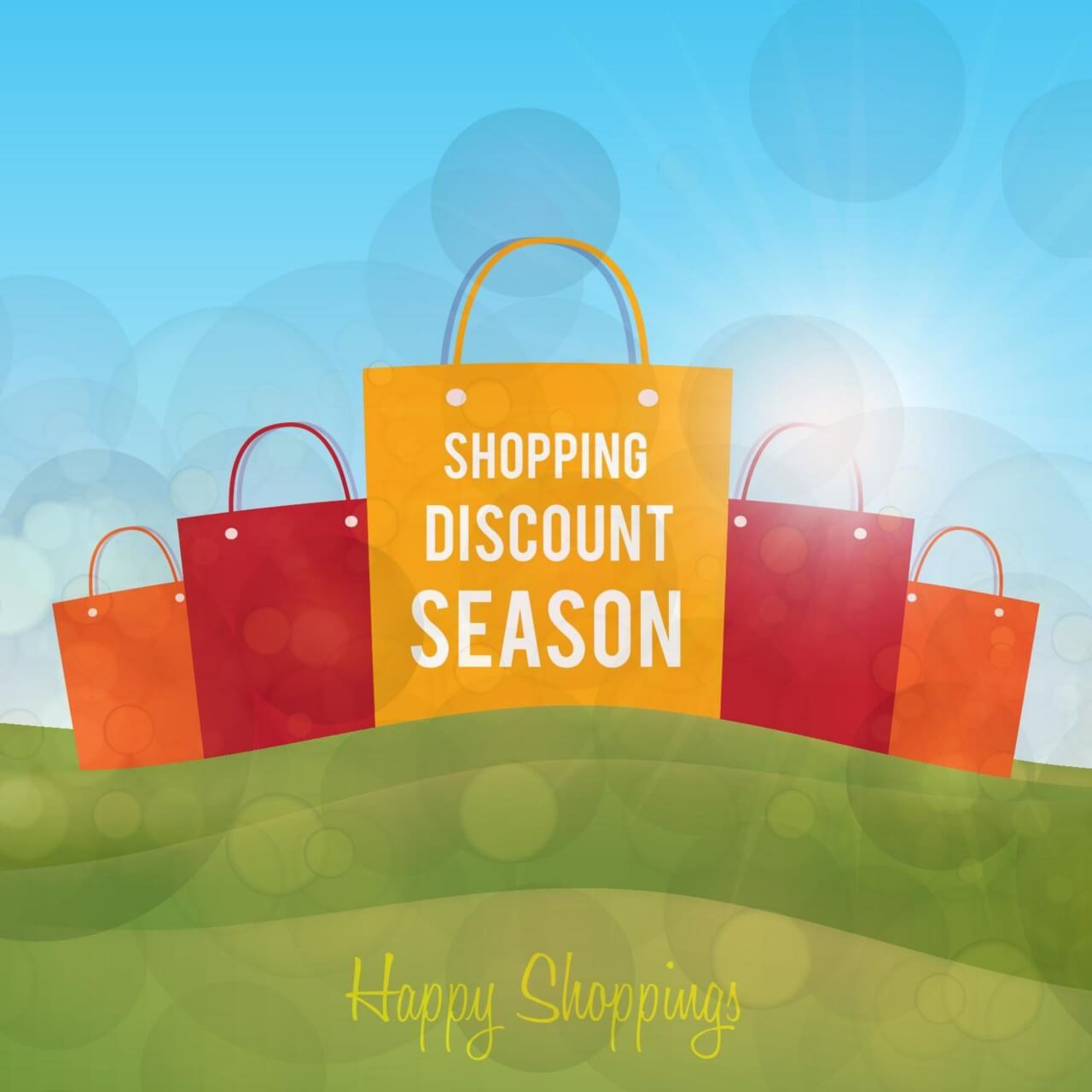 "Free vector ""Shopping paper bags on green landscape"""
