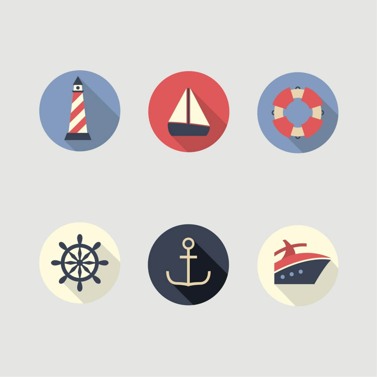 """Free vector """"Boat and Sea Icons"""""""