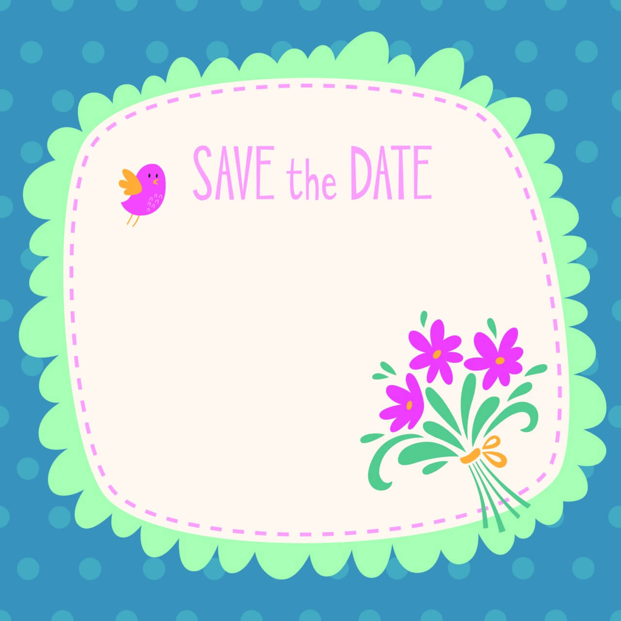 "Free vector ""Save the date vector card"""