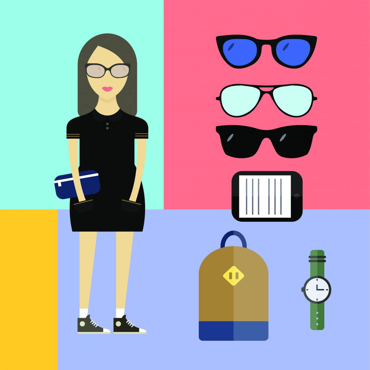 """Free vector """"People vector woman character with tools and objects. Free illustration for design"""""""