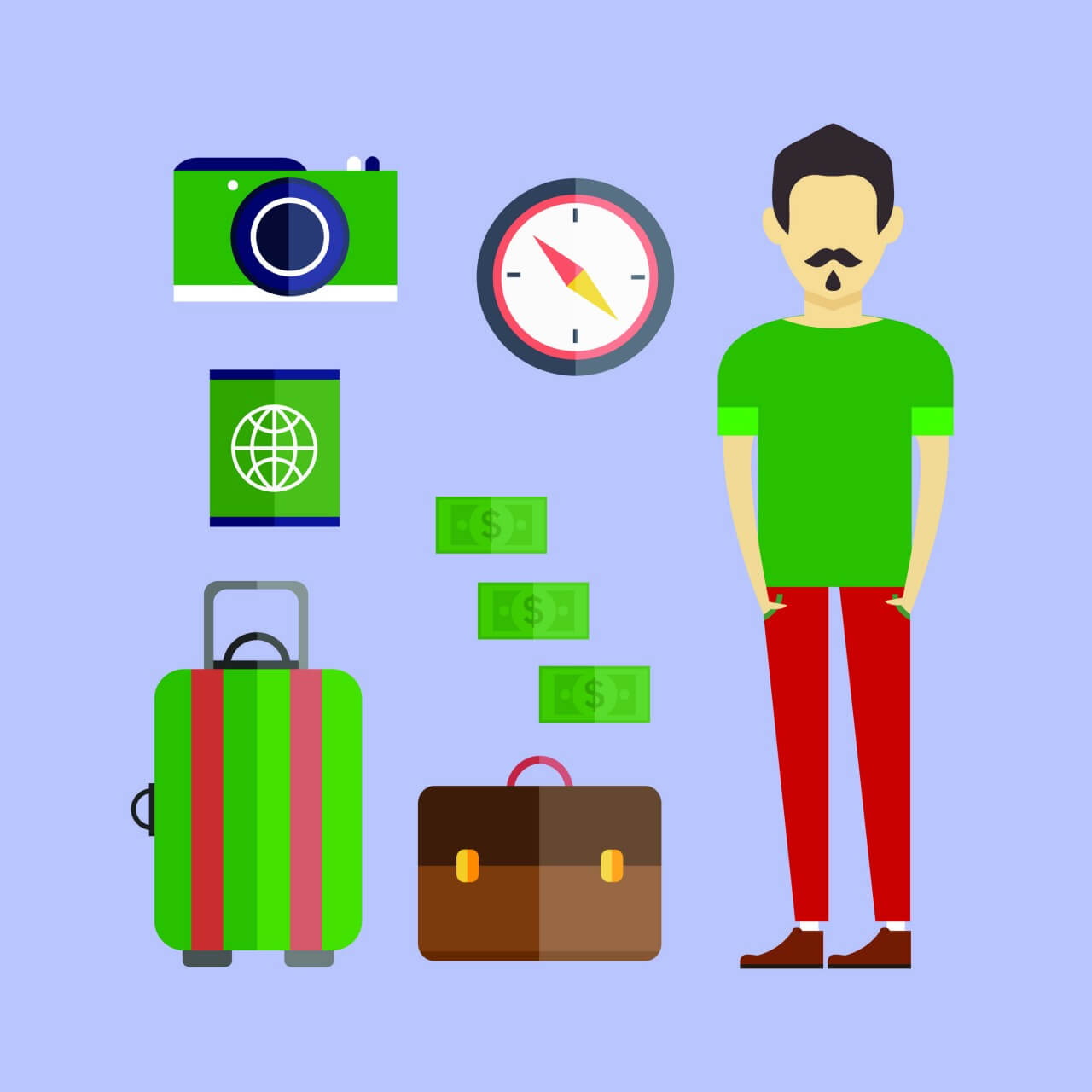 "Free vector ""People vector travel character with tools and objects. Free illustration for design"""