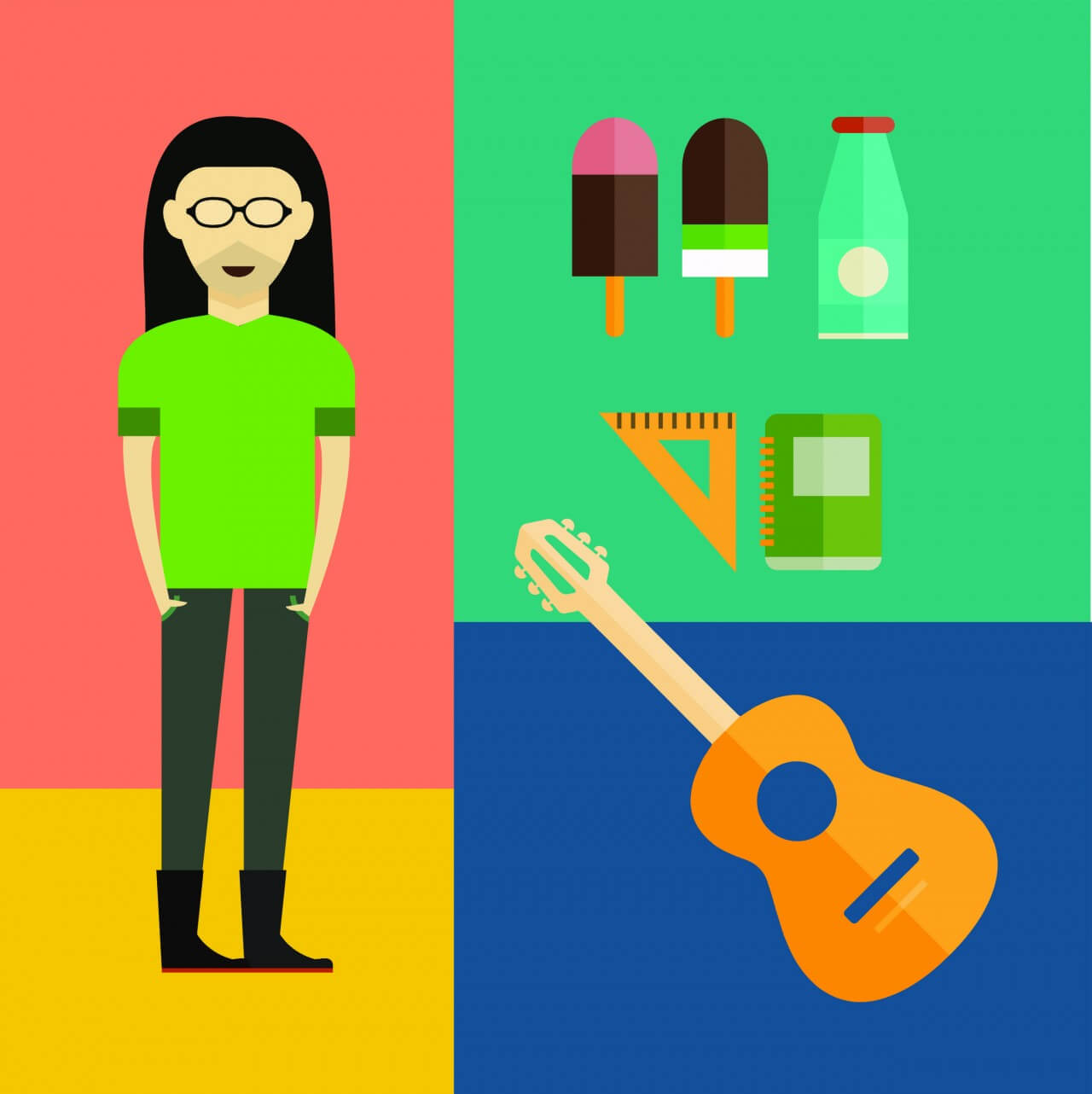 "Free vector ""People vector music hero character with tools and objects. Free illustration for design"""
