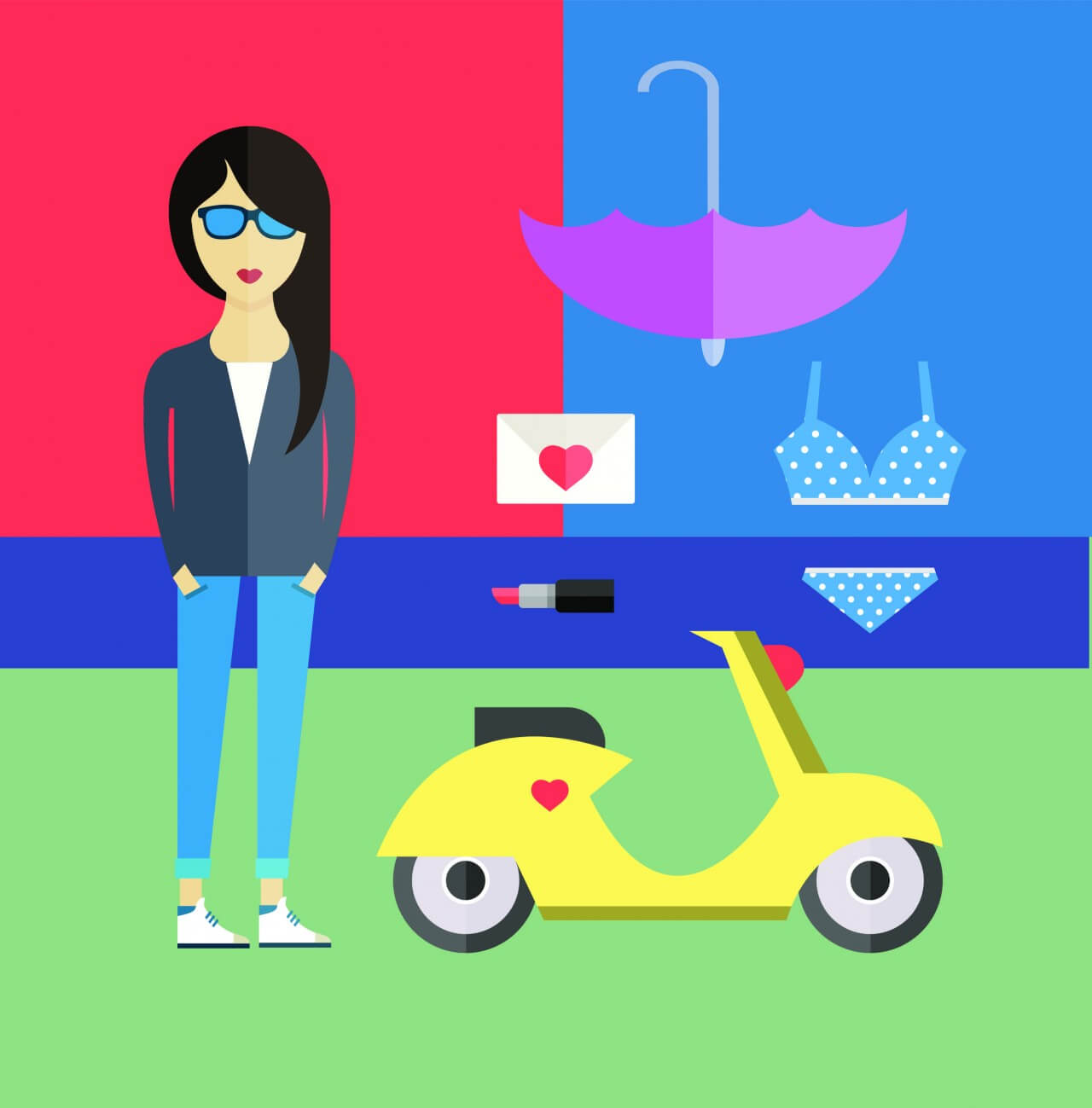 "Free vector ""People vector girl character with tools and objects. Free illustration for design"""