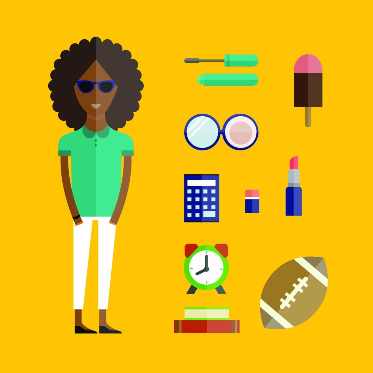 "Free vector ""People vector afro girl character with tools and objects. Free illustration for design"""