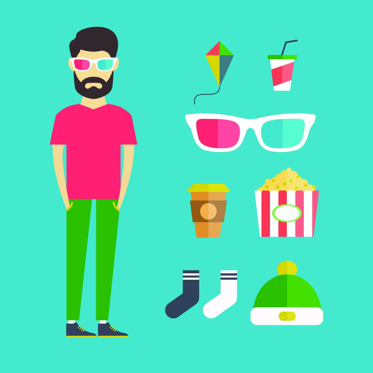 "Free vector ""People vector young character with tools and objects. Free illustration for design"""