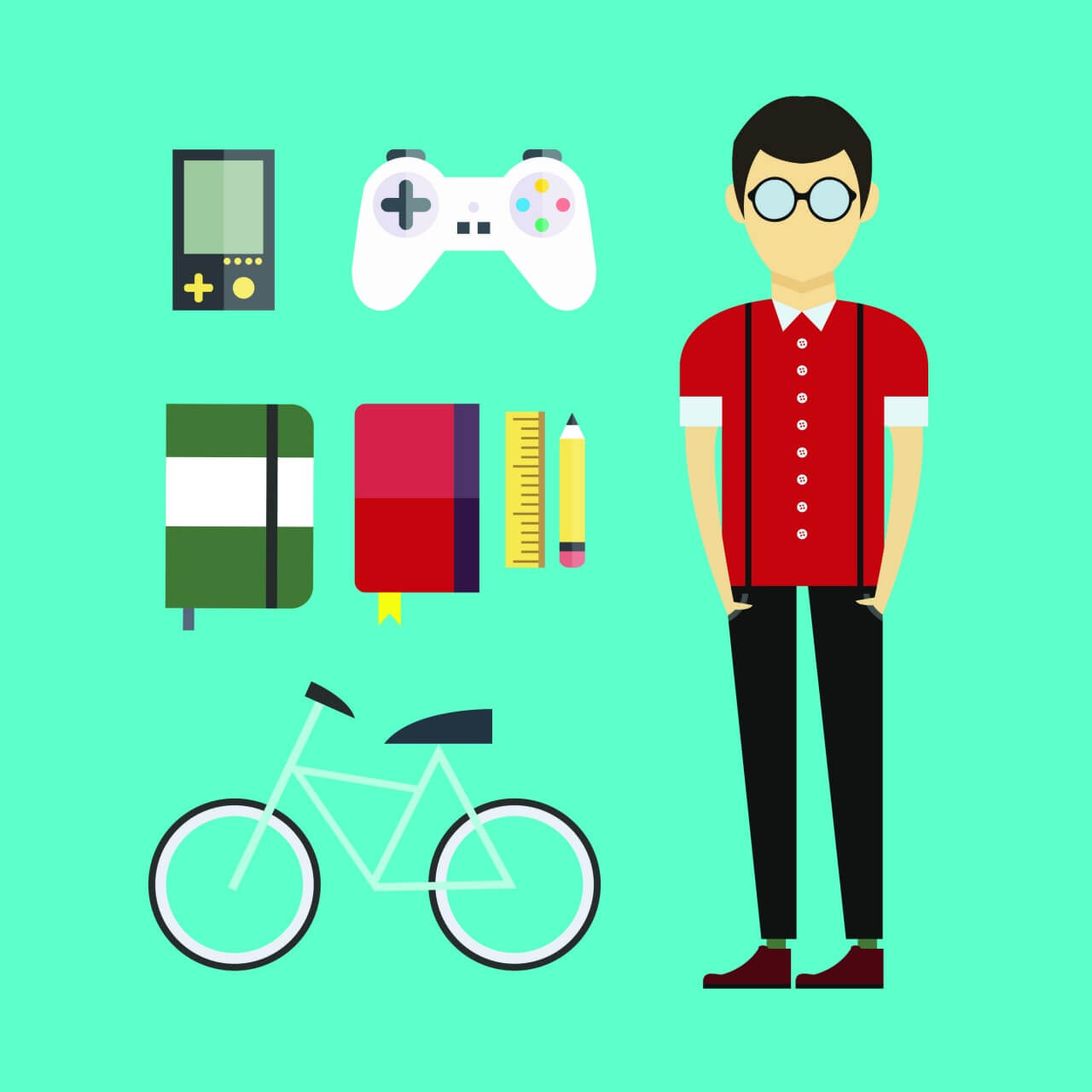 "Free vector ""People vector designer character with tools and objects. Free illustration for design"""