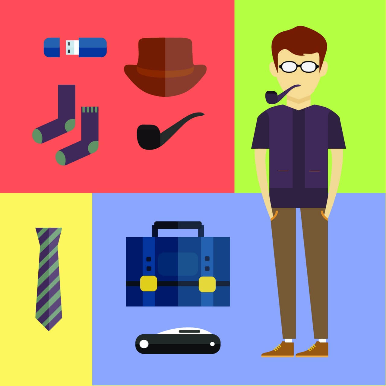 "Free vector ""People vector hipster character with tools and objects. Free illustration for design"""