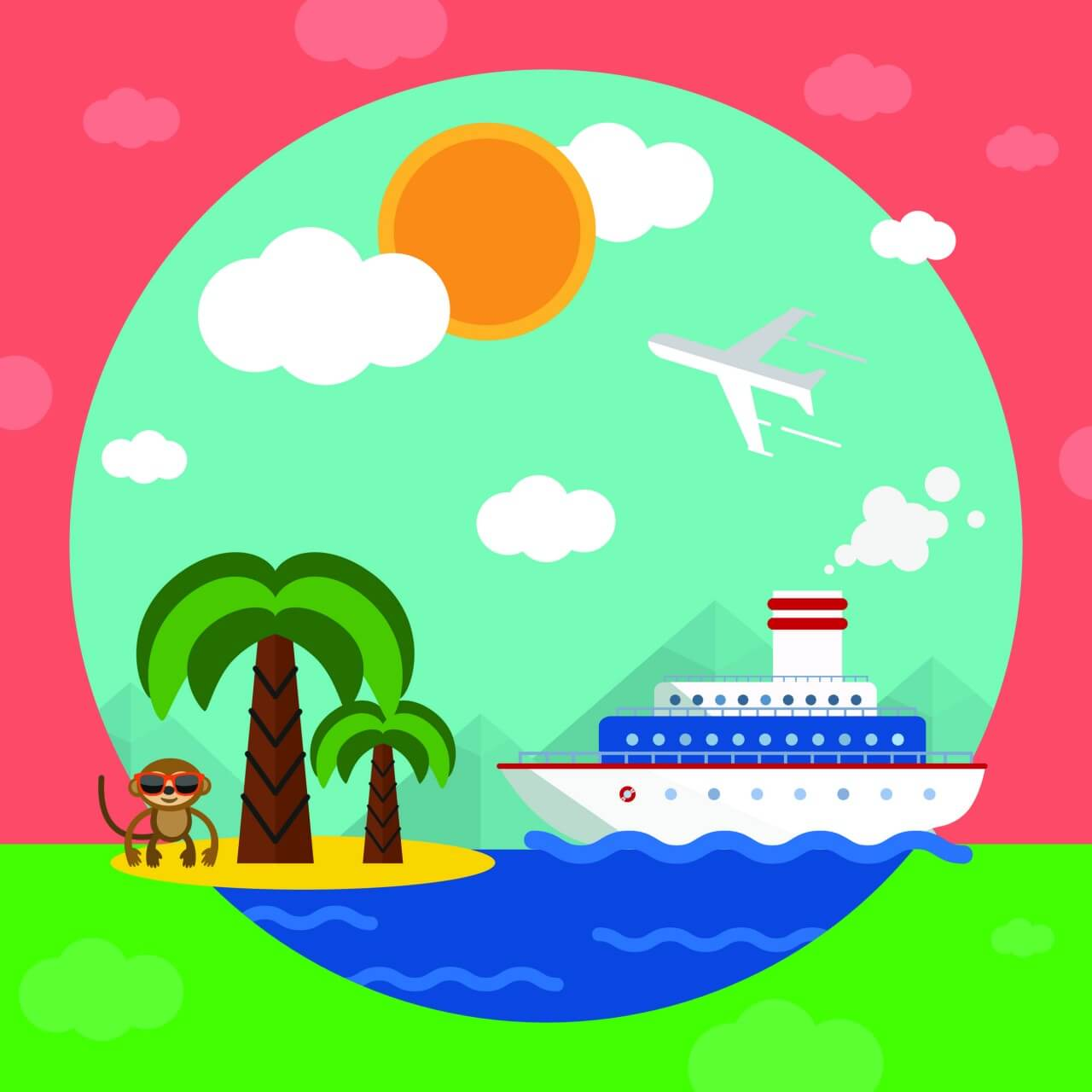 """Free vector """"Travel illustration for free graphic design. Simple flat vector"""""""