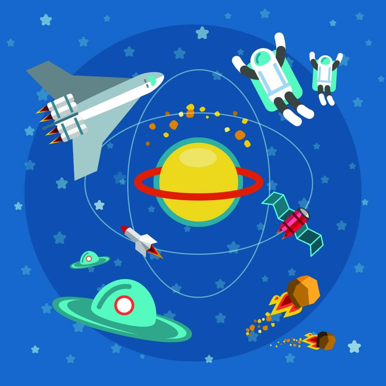 "Free vector ""Space world with man and some objects. For free vector design"""