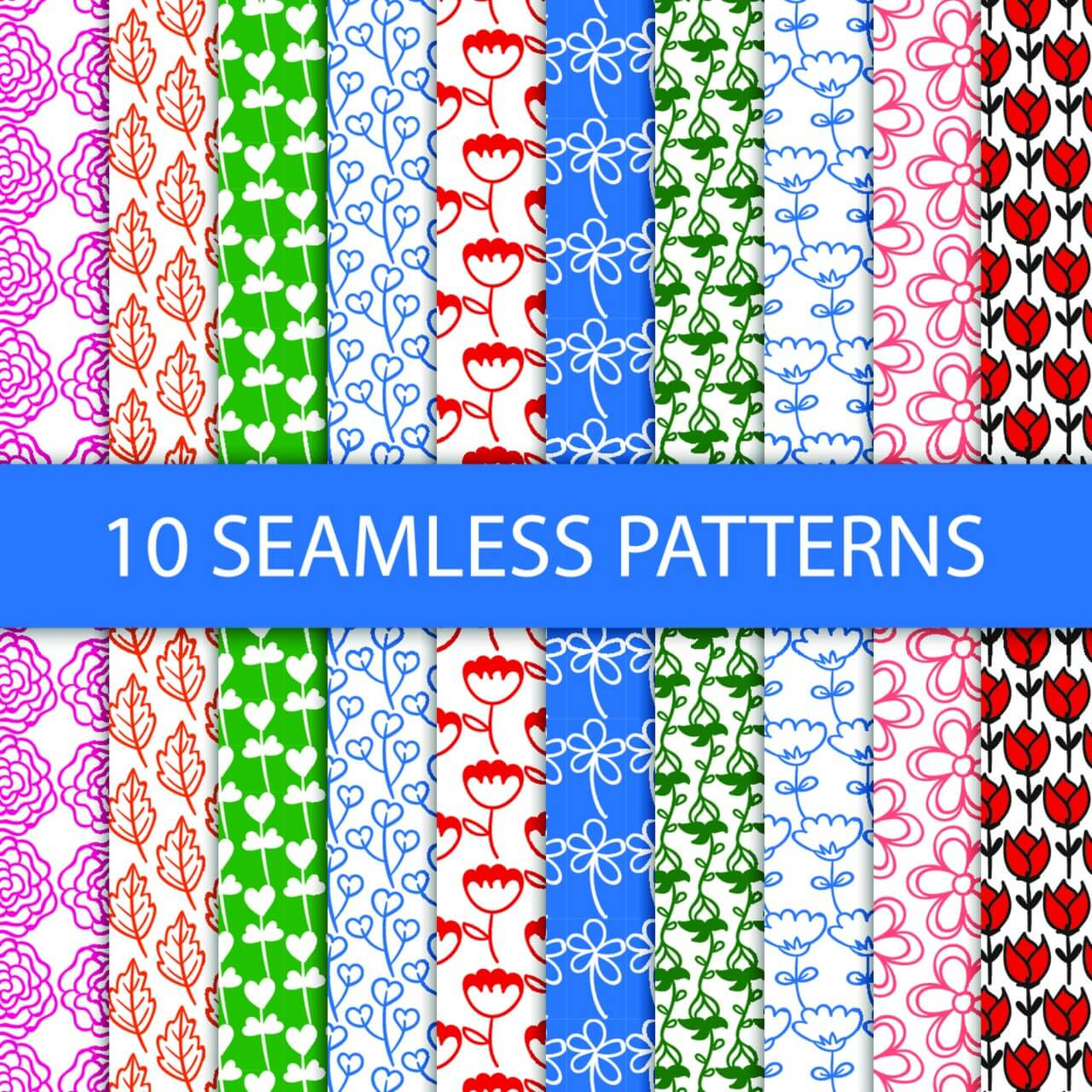 """Free vector """"Seamless floral patterns"""""""
