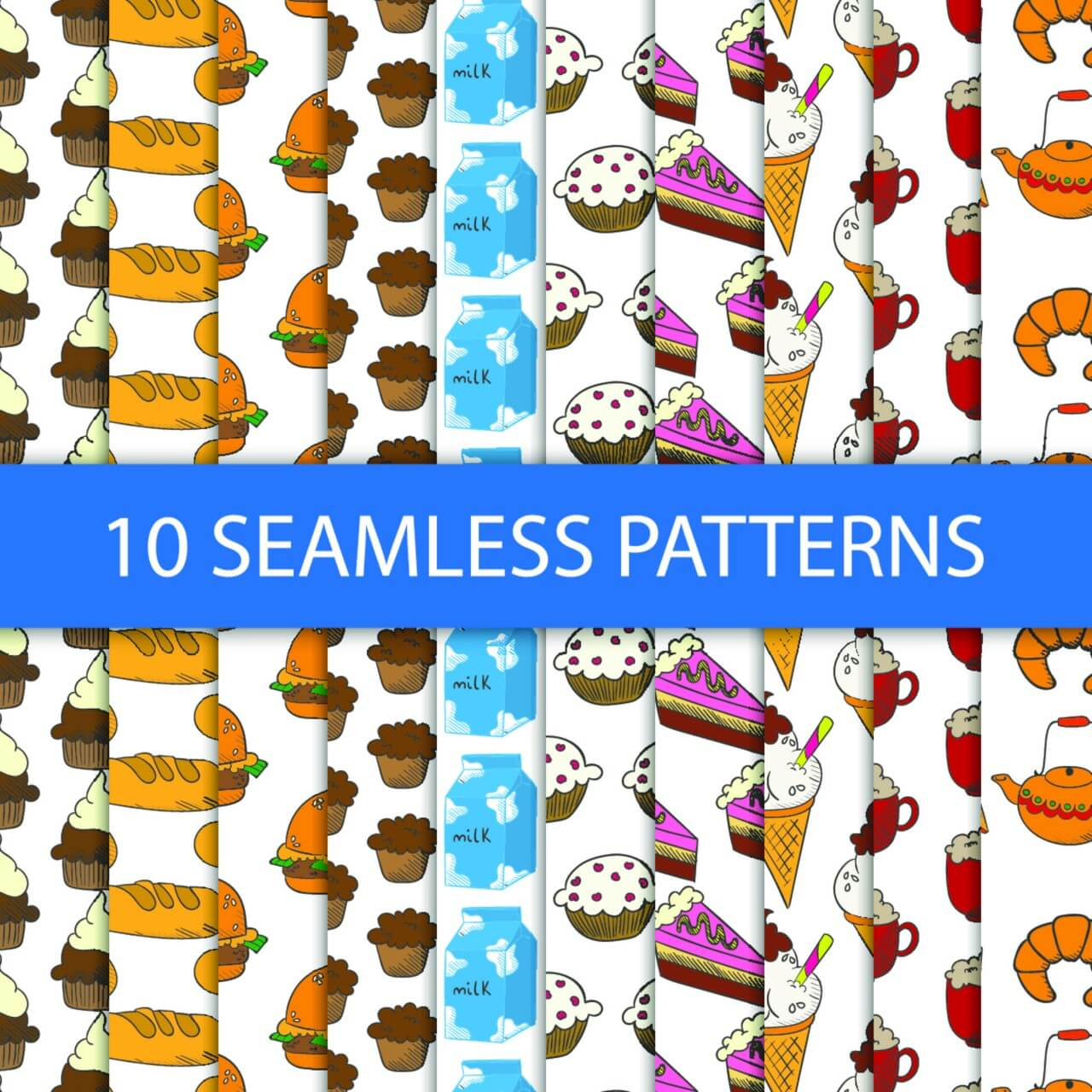 "Free vector ""Seamless patterns with food"""