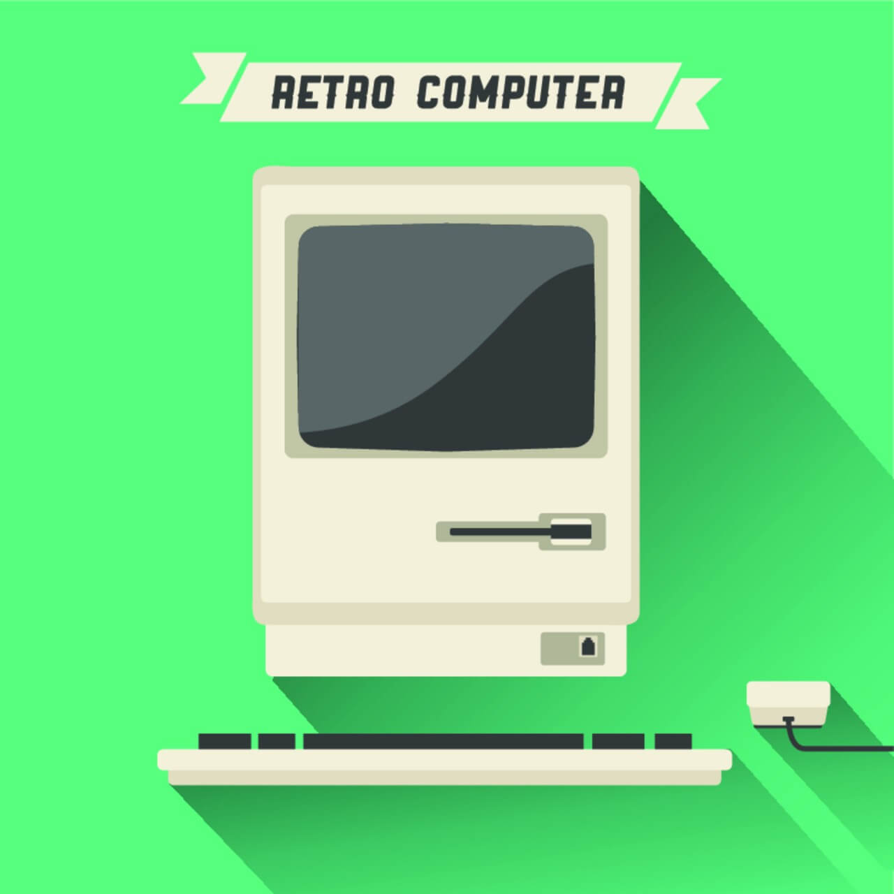 "Free vector ""Retro Computer with Long Shadow"""