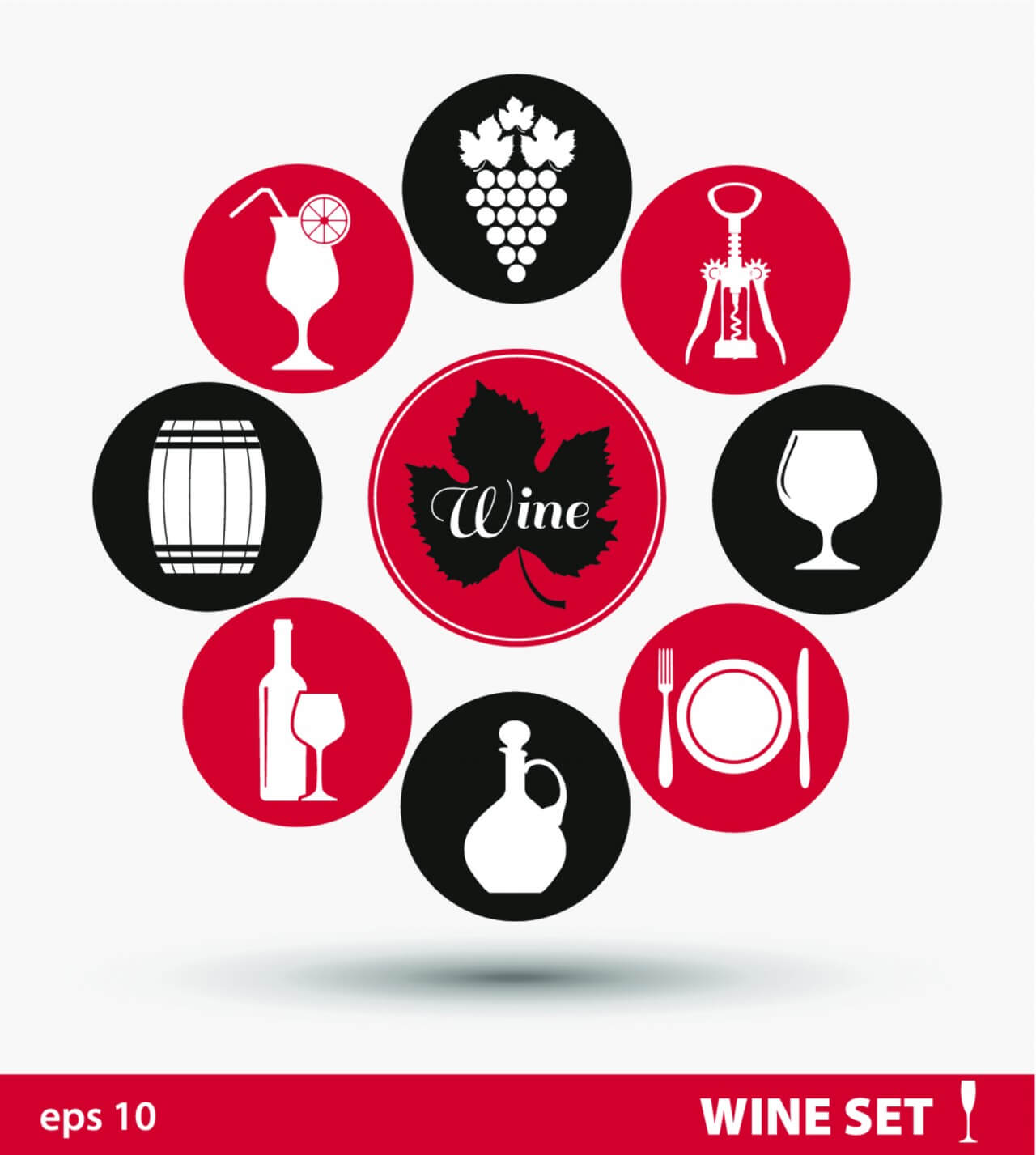 "Free vector ""Wine set of icons"""