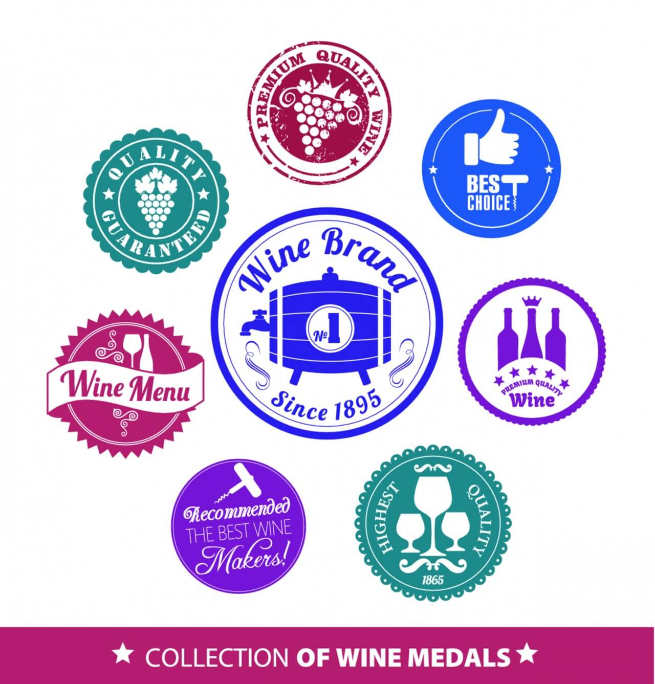 """Free vector """"Collection of wine mrdal"""""""