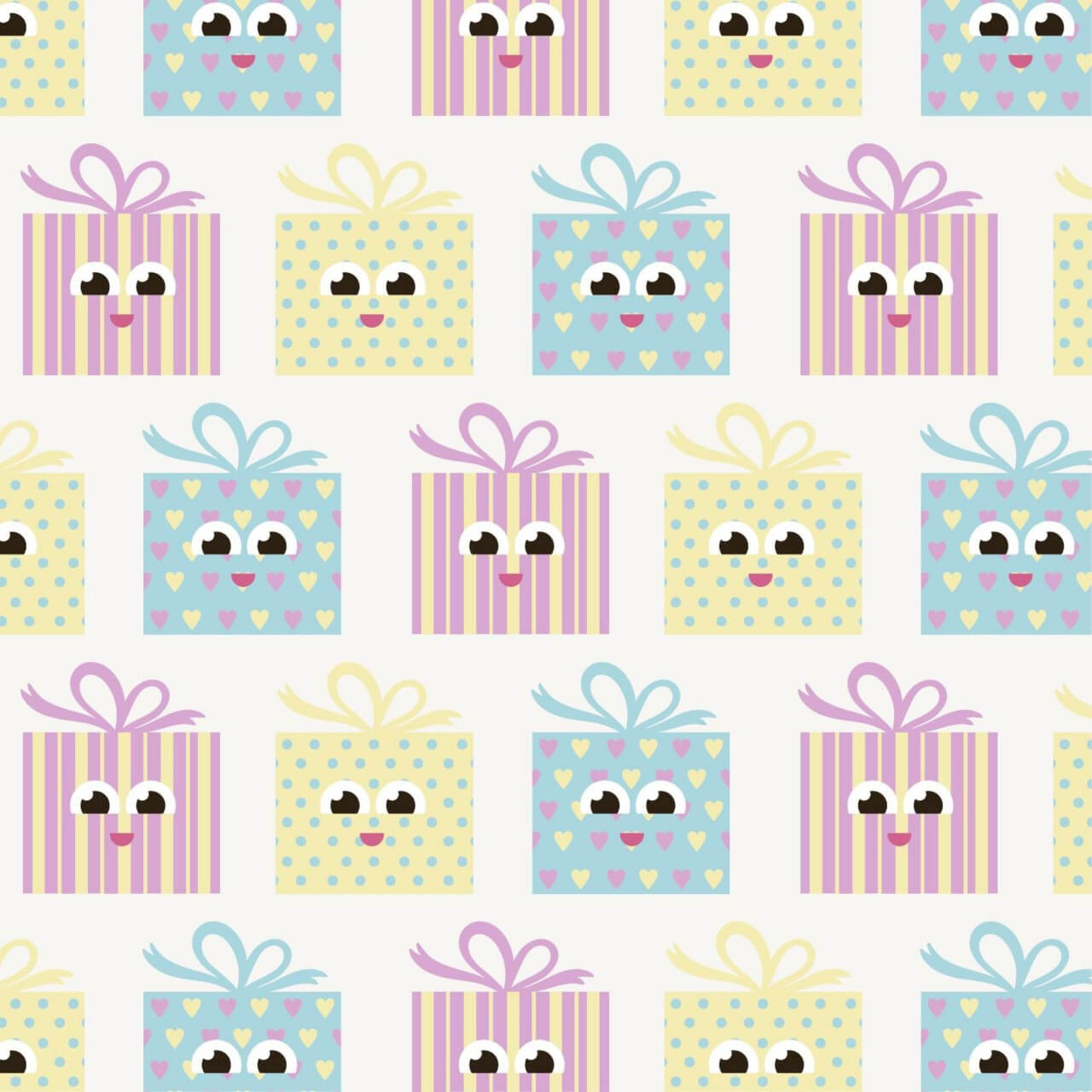"""Free vector """"Cute pattern with gifts"""""""