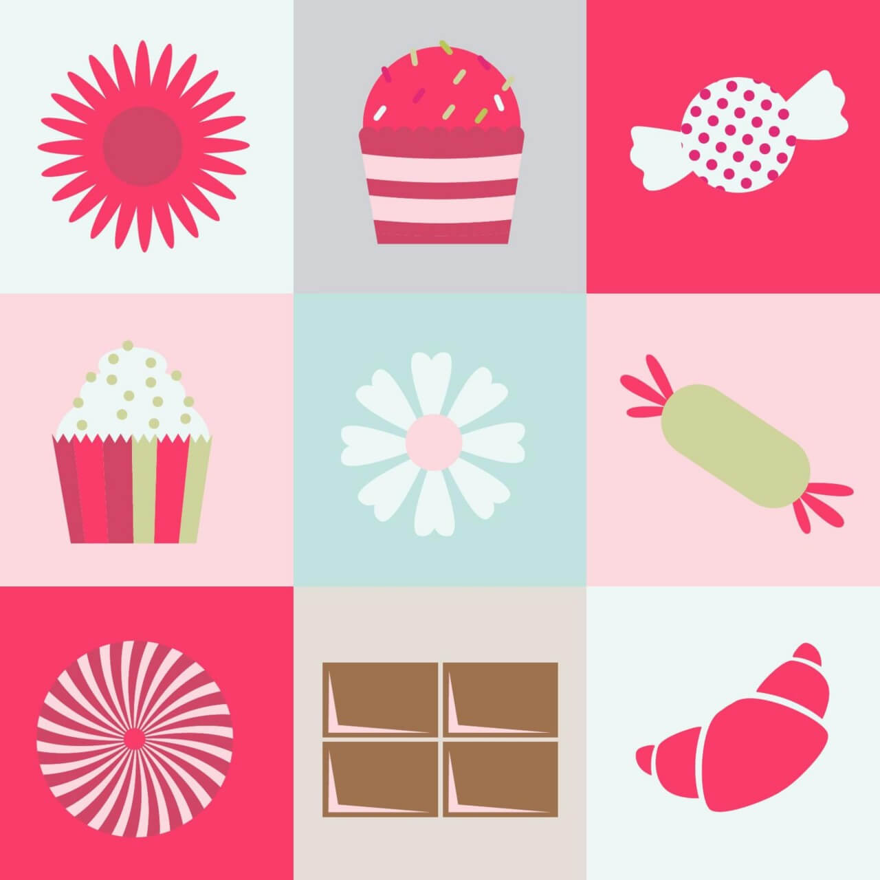 "Free vector ""Sweets and flowers on metro background"""
