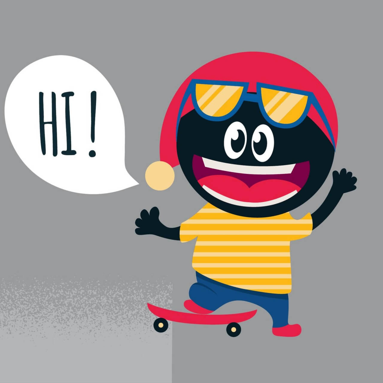"Free vector ""Cute monster with skateboard"""