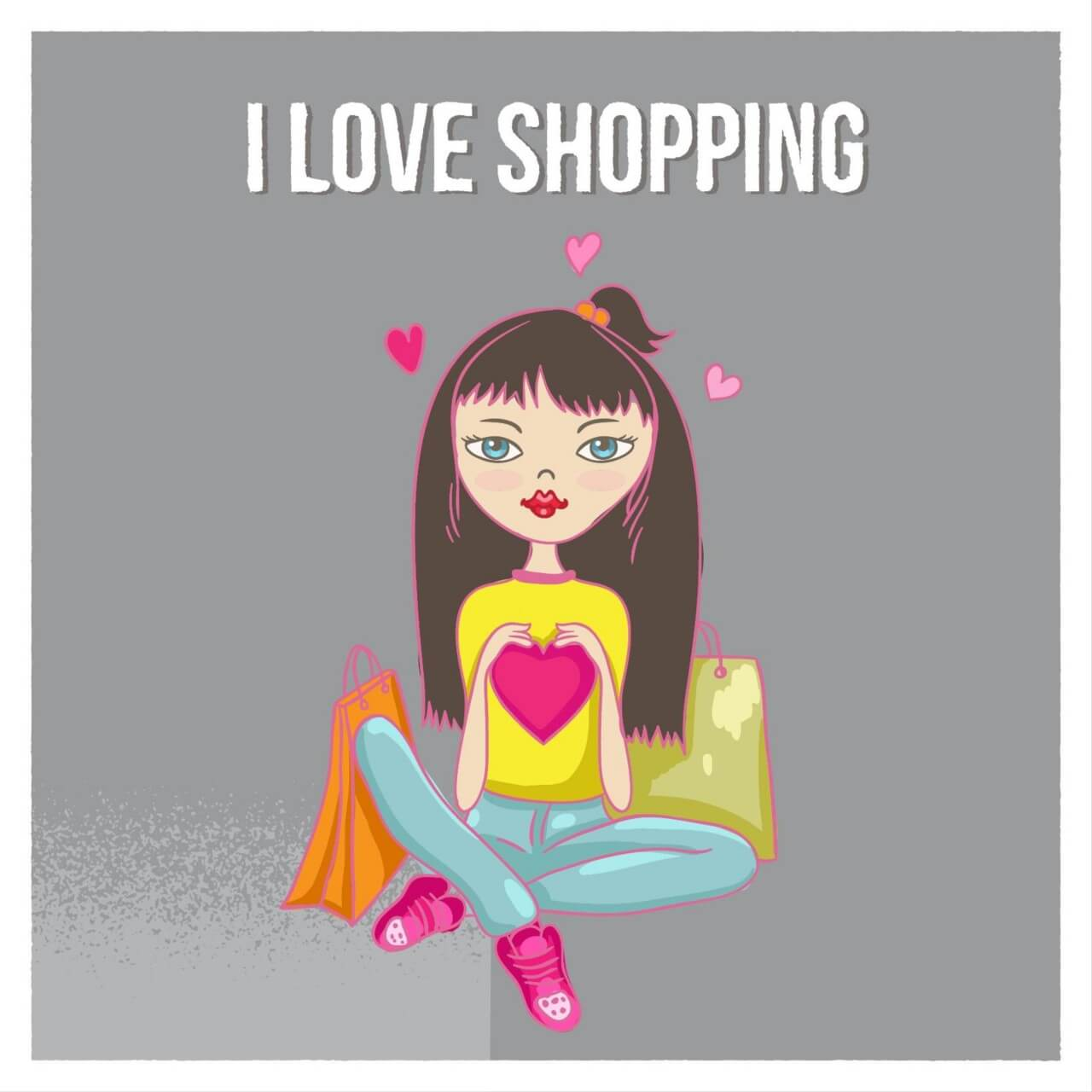 "Free vector ""Shopping girl with bags"""