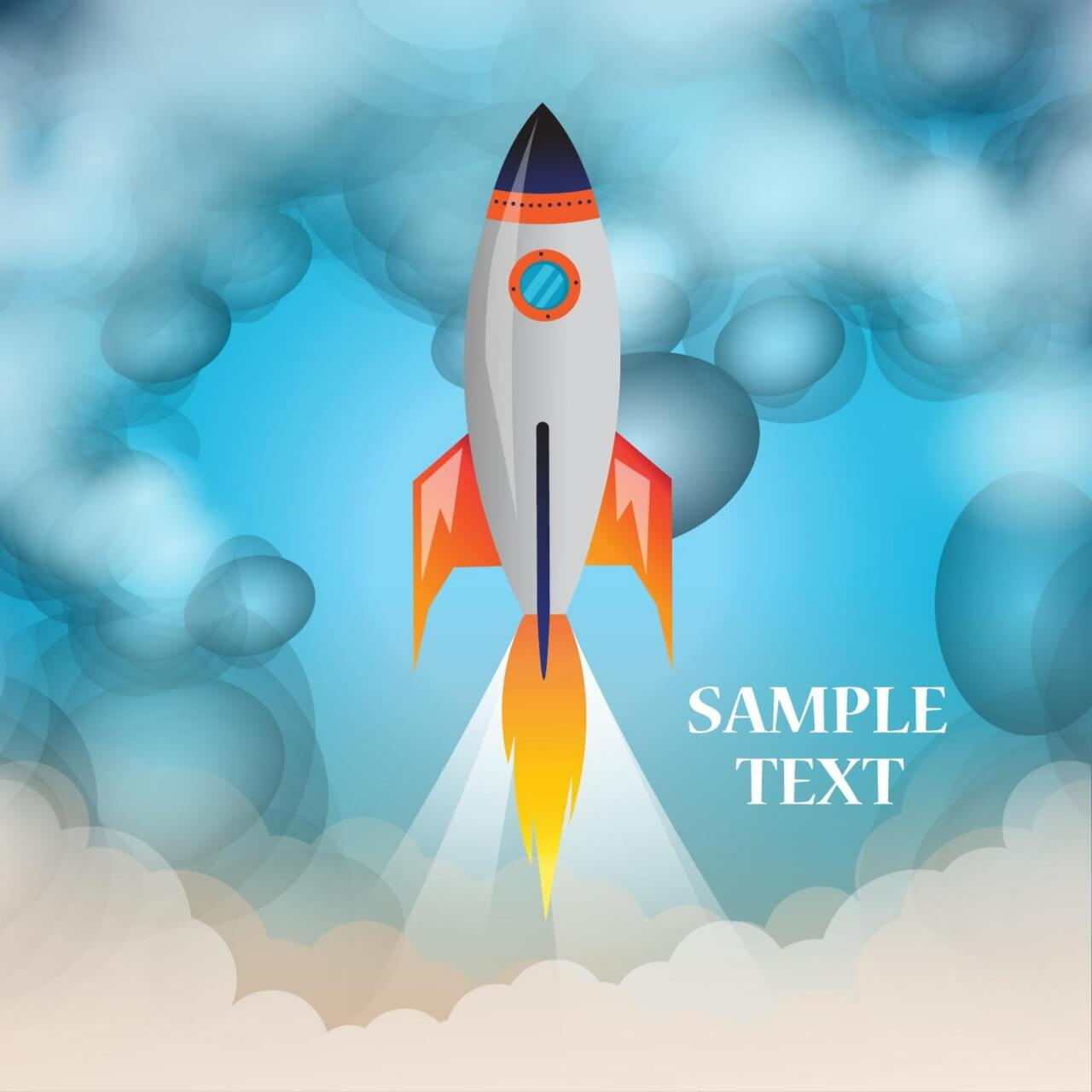 """Free vector """"Space rocket launch with cloudy background"""""""