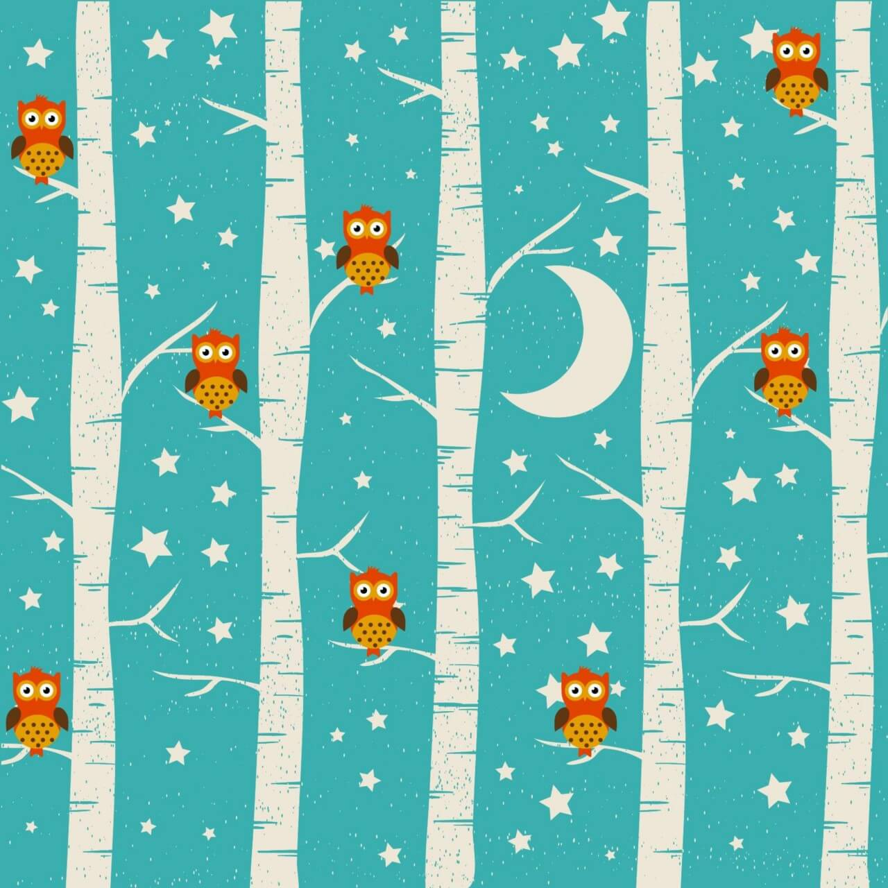"Free vector ""Forest illustration with owls"""