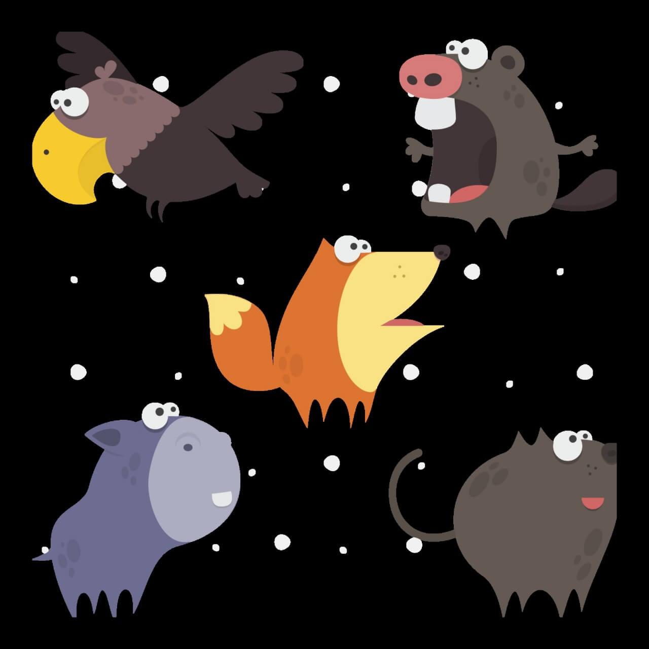 "Free vector ""Cute Animals Vector Set 1"""
