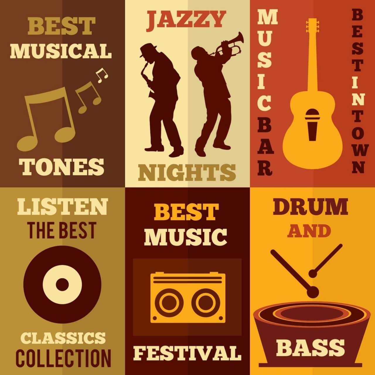 "Free vector ""Music set of flat design concepts"""