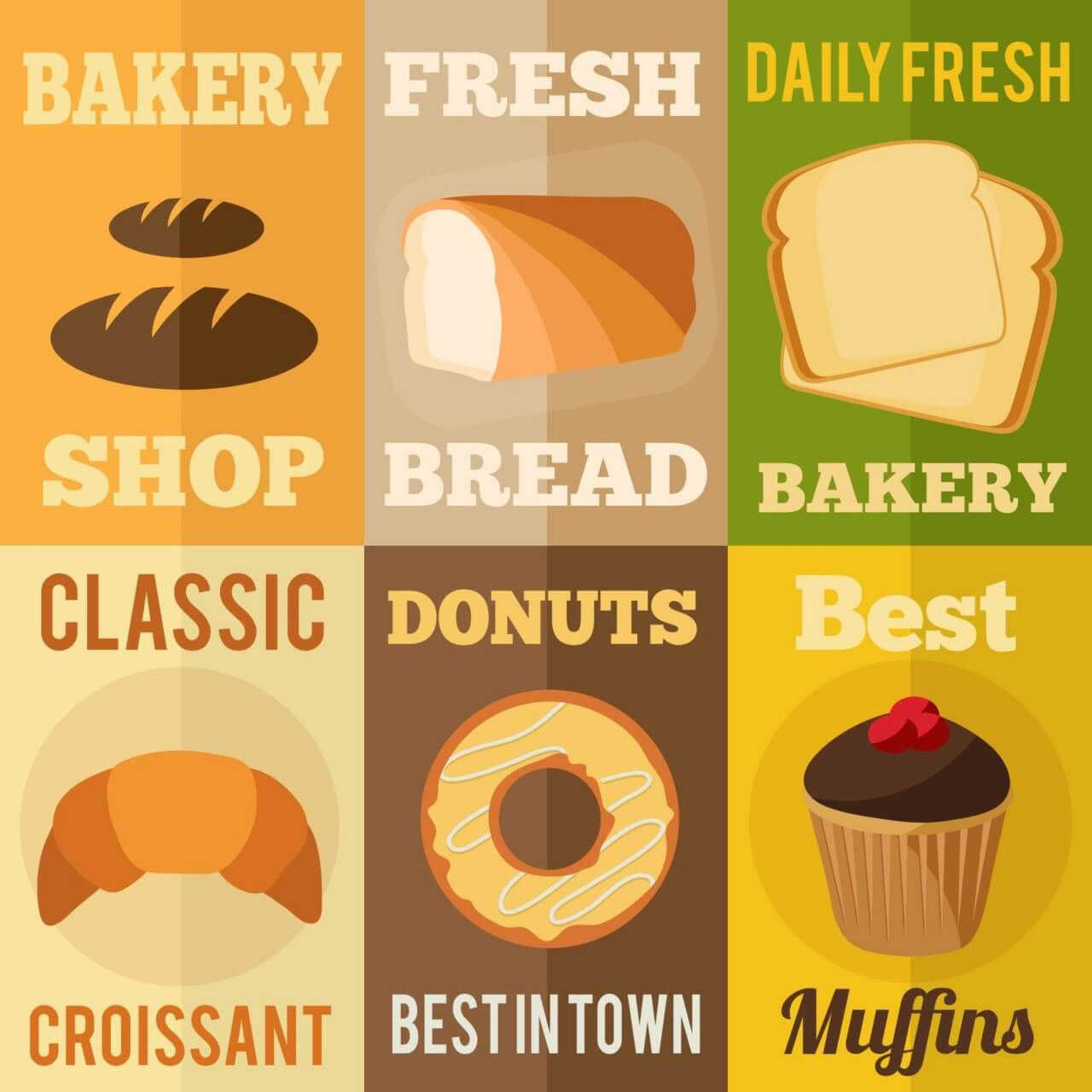 "Free vector ""Bakery flat design concepts"""