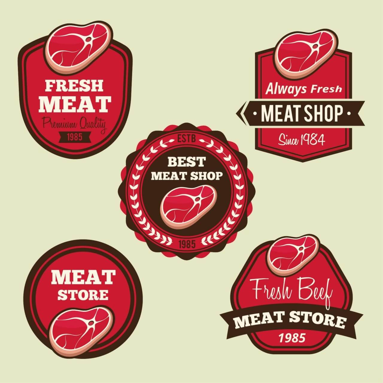 "Free vector ""Labels set for meat shops"""