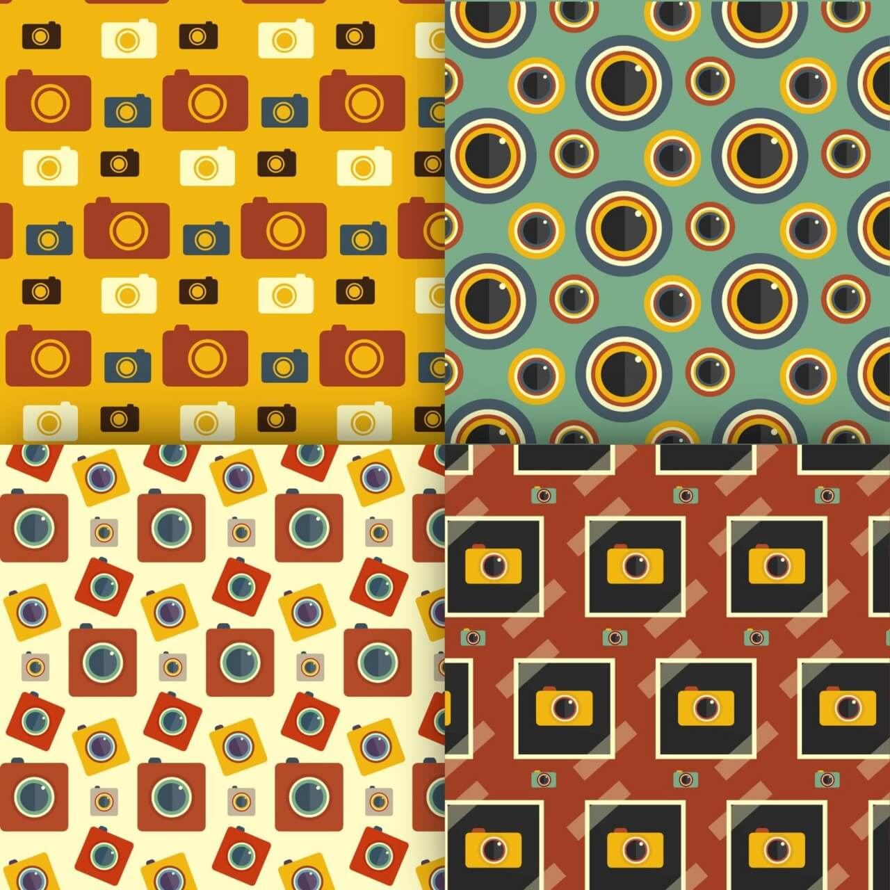 "Free vector ""Photography seamless patterns set"""