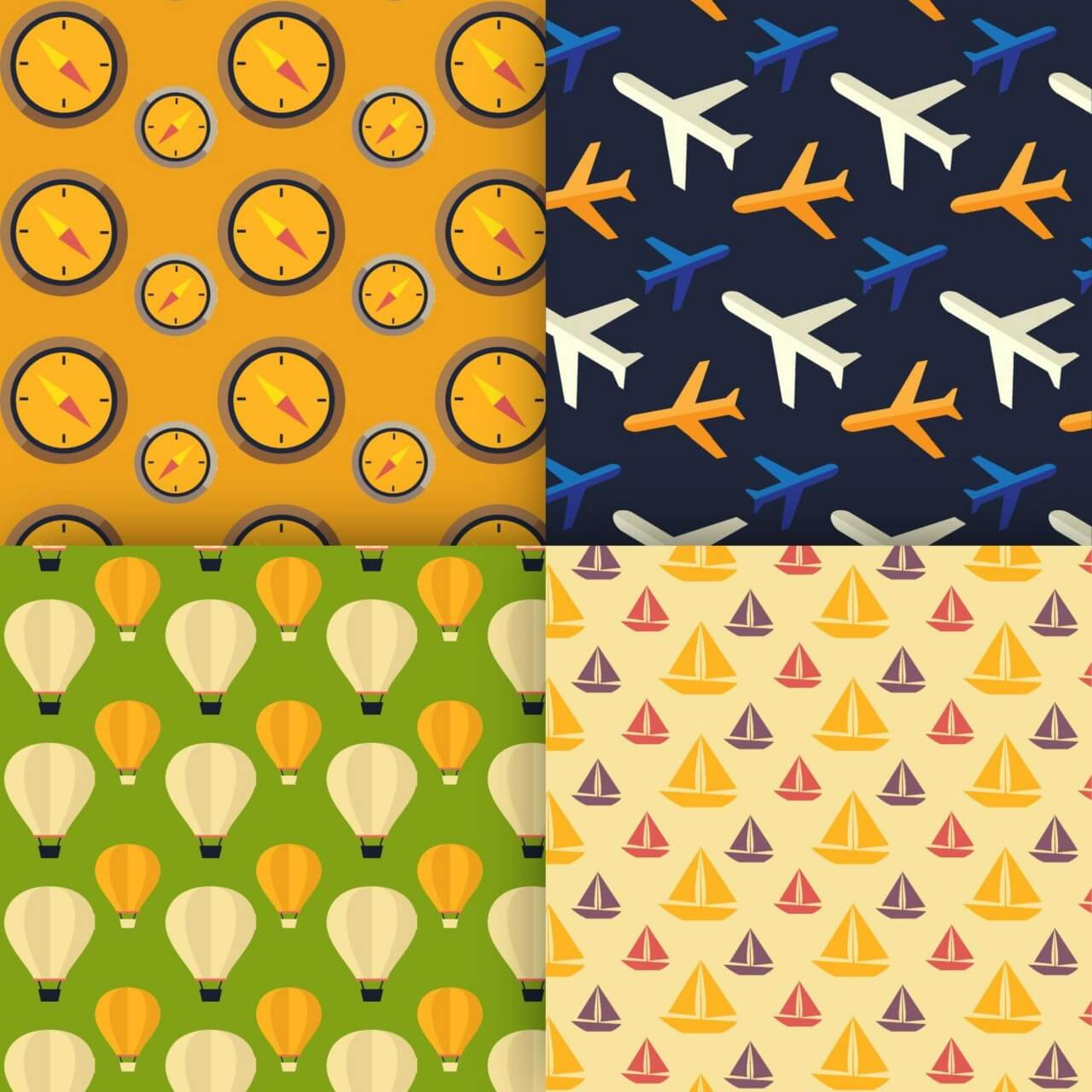 """Free vector """"Travel vector patterns"""""""