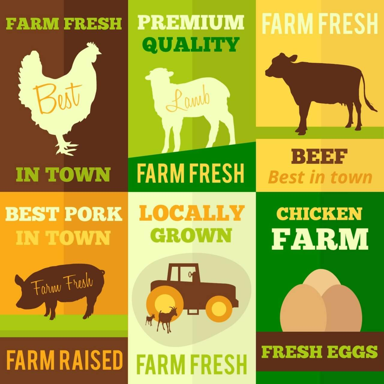 "Free vector ""Farm products flat design concept cards"""