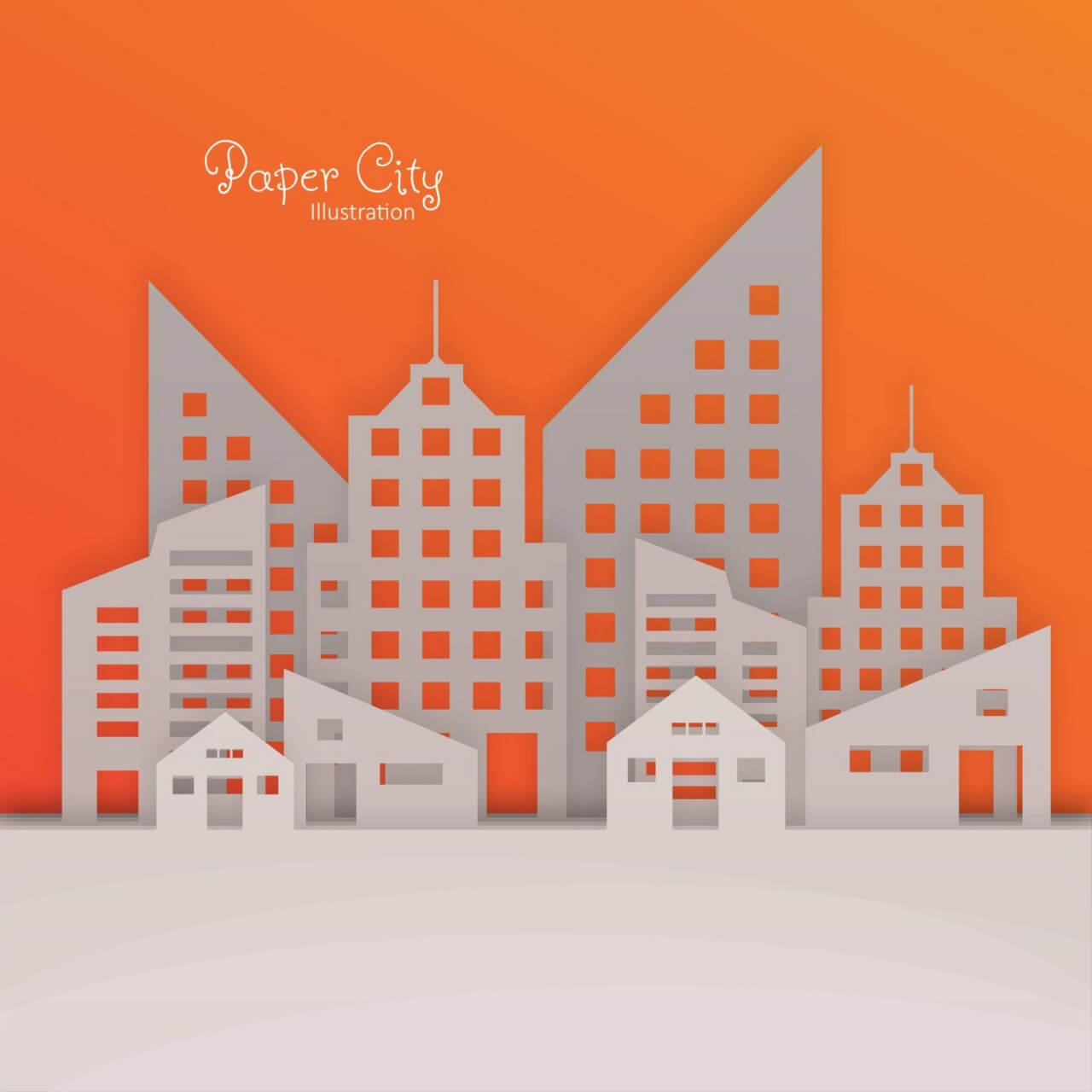 "Free vector ""Paper City Illustration"""