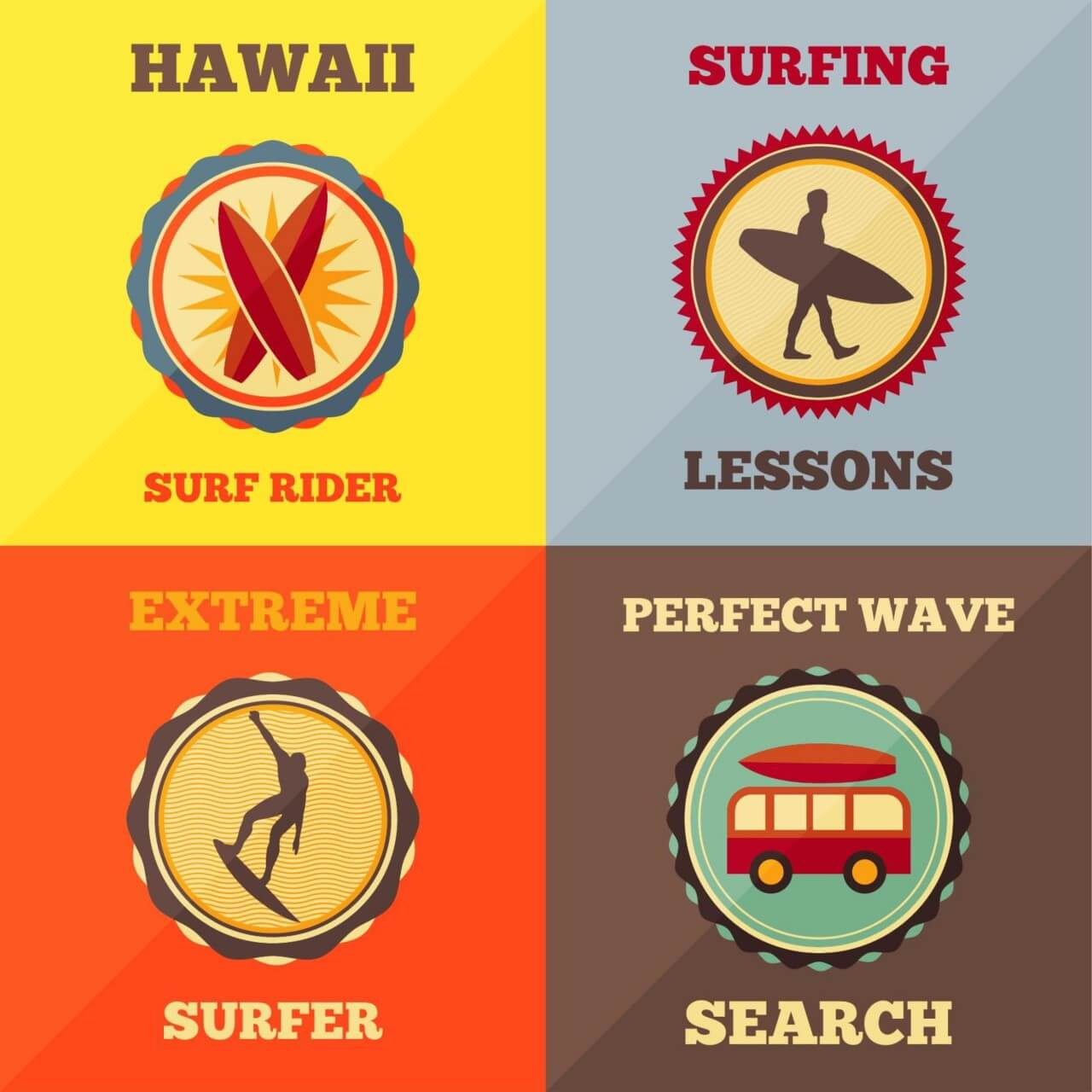 "Free vector ""Surfing Icon Set"""