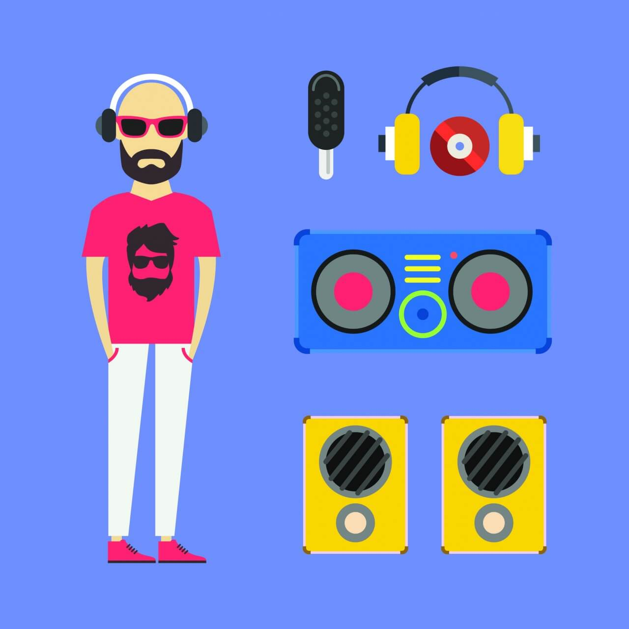 "Free vector ""Some DJ man with music tools - vector free illustration"""