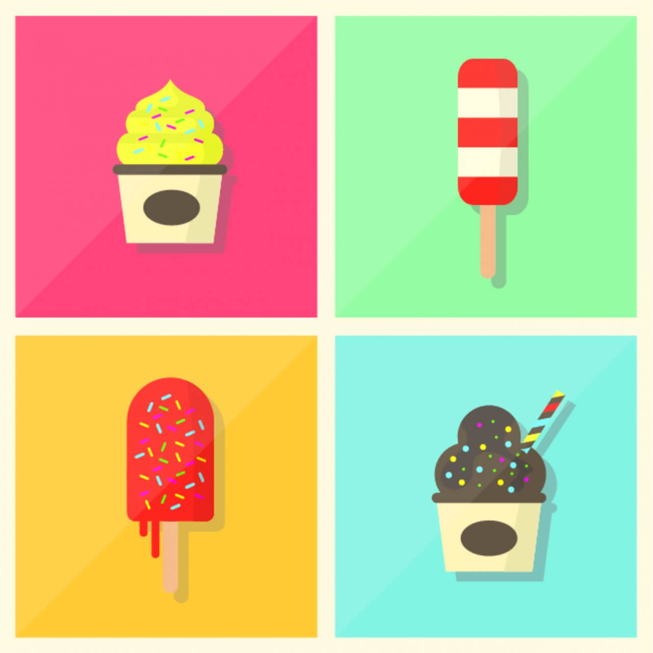 "Free vector ""Retro Vintage Flat Ice Cream Collection"""